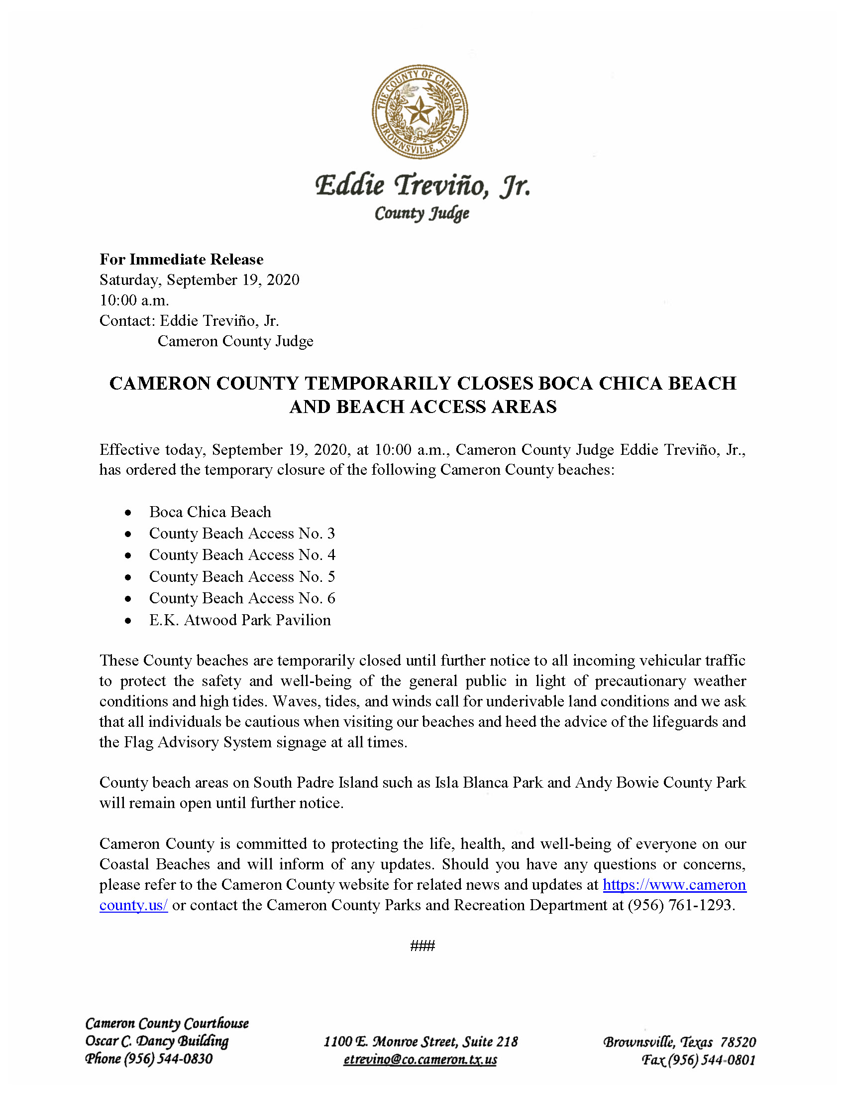 9.19.20 Closure Of County Beaches Due To Weather Conditions