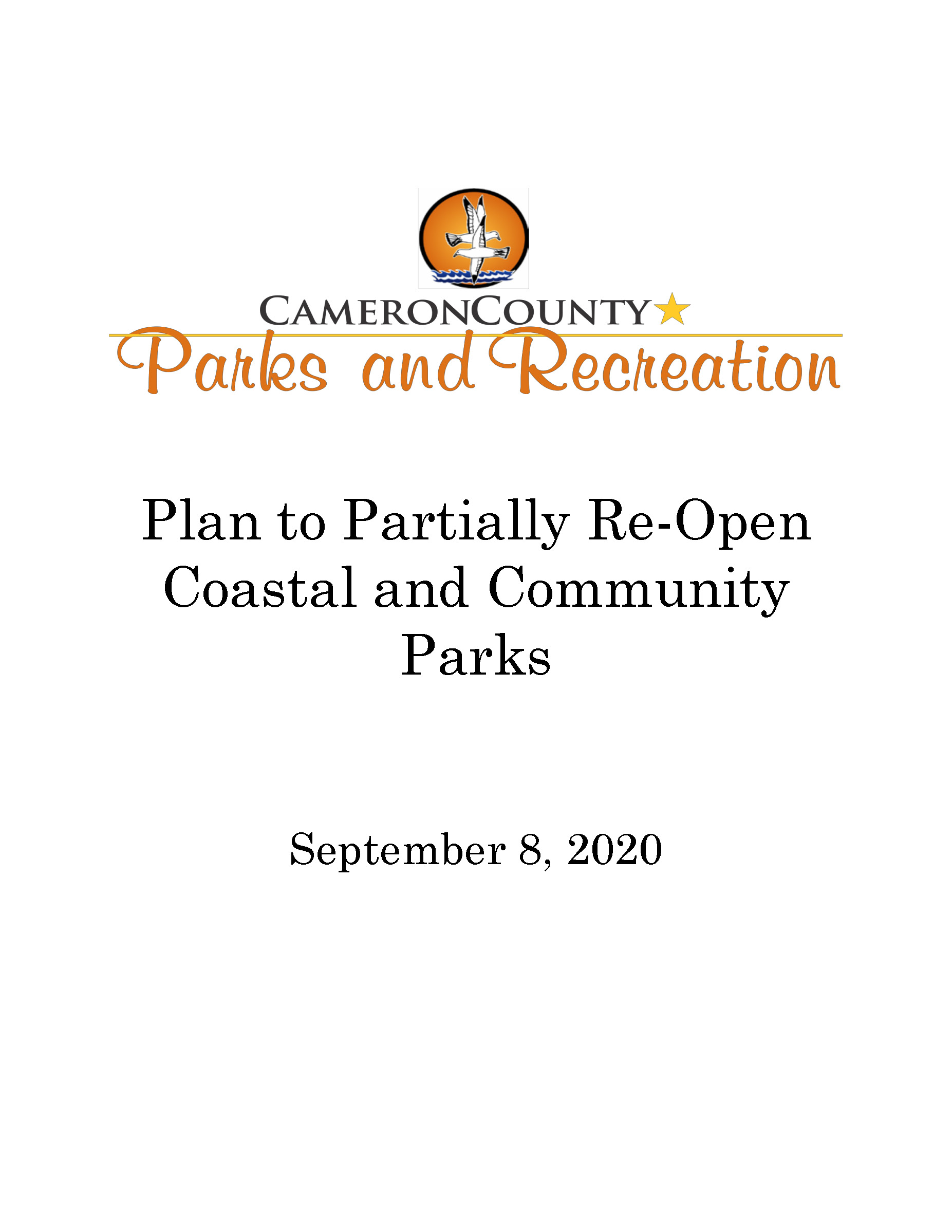 Cameorn County Parks Plan To Partially Re Open Parks 9 8 20 Page 01