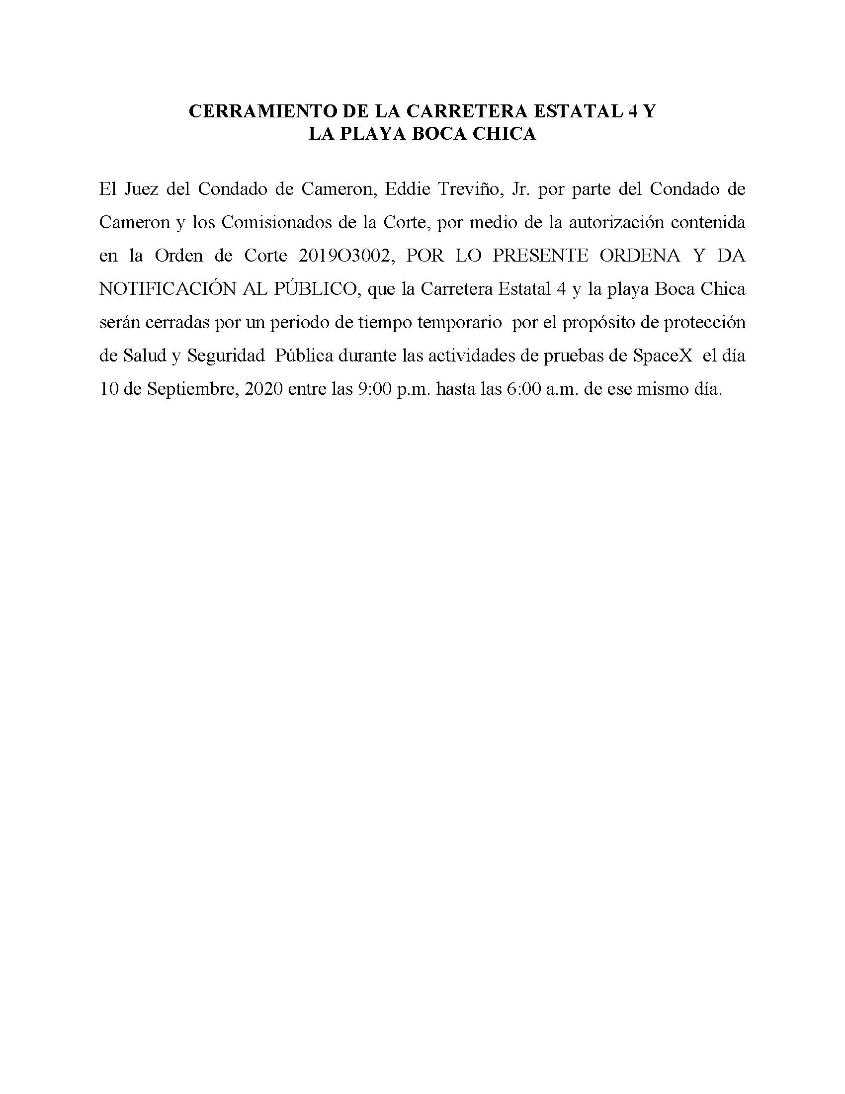 ORDER.CLOSURE OF HIGHWAY 4 Y LA PLAYA BOCA CHICA.SPANISH.9.10.20