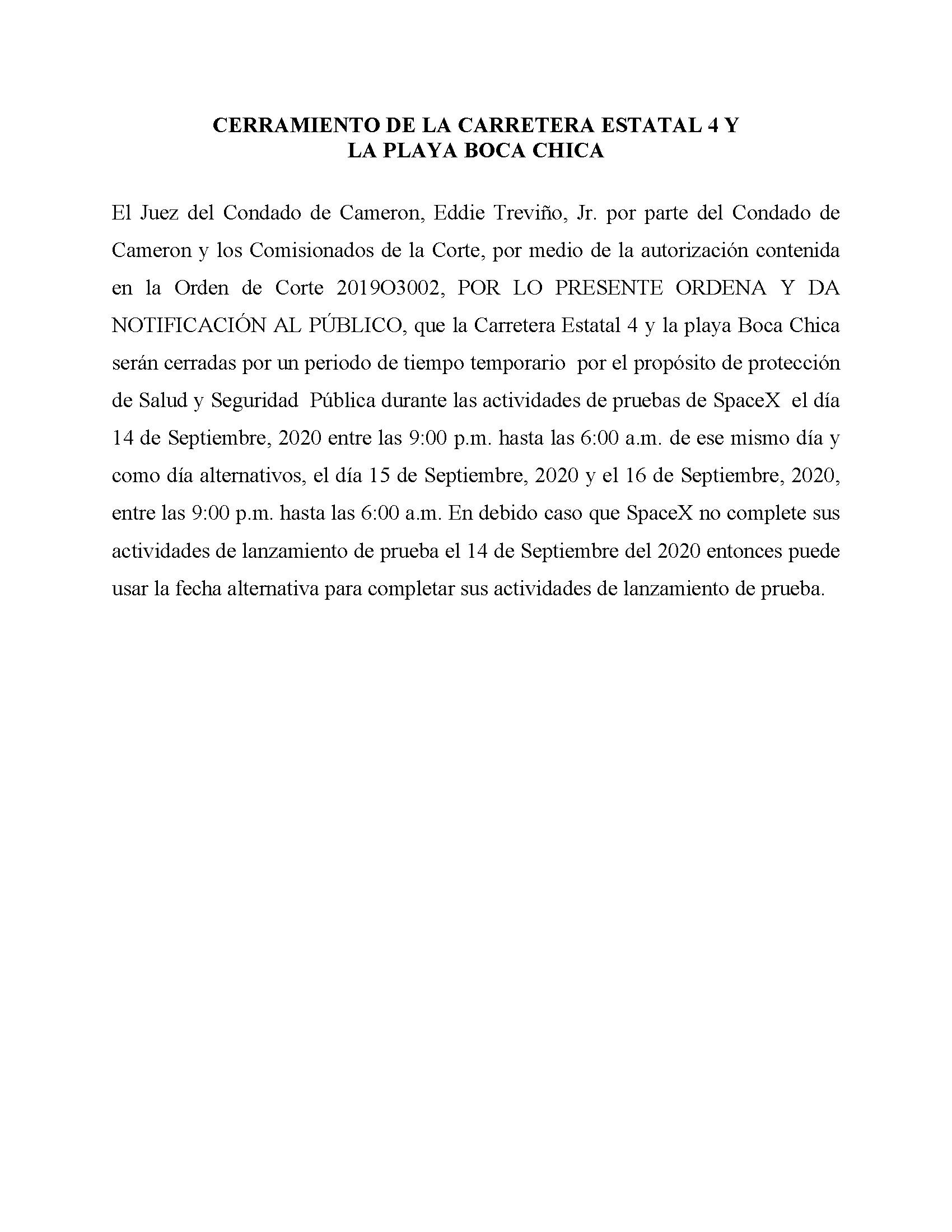 ORDER.CLOSURE OF HIGHWAY 4 Y LA PLAYA BOCA CHICA.SPANISH.9.14.20