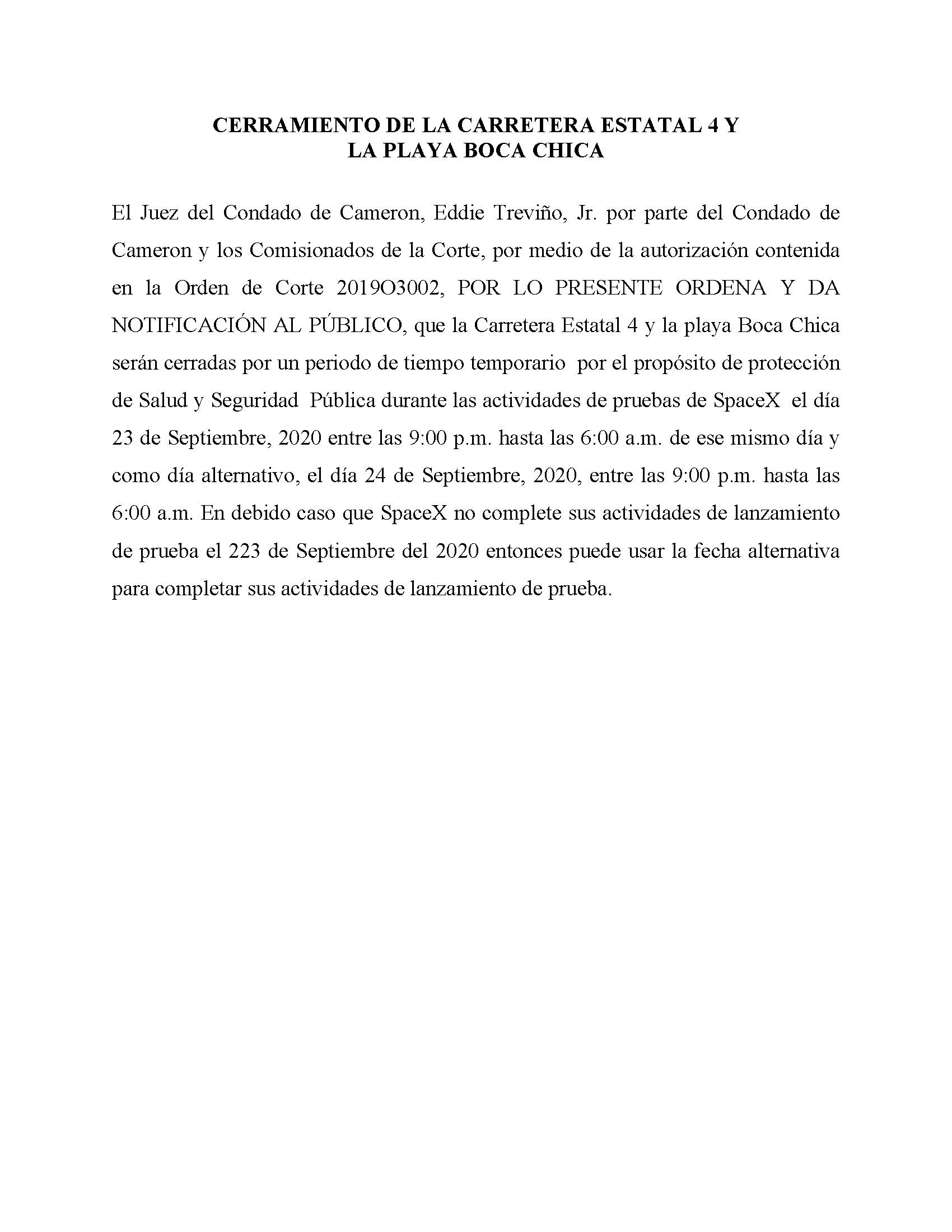 ORDER.CLOSURE OF HIGHWAY 4 Y LA PLAYA BOCA CHICA.SPANISH.9.2324.20