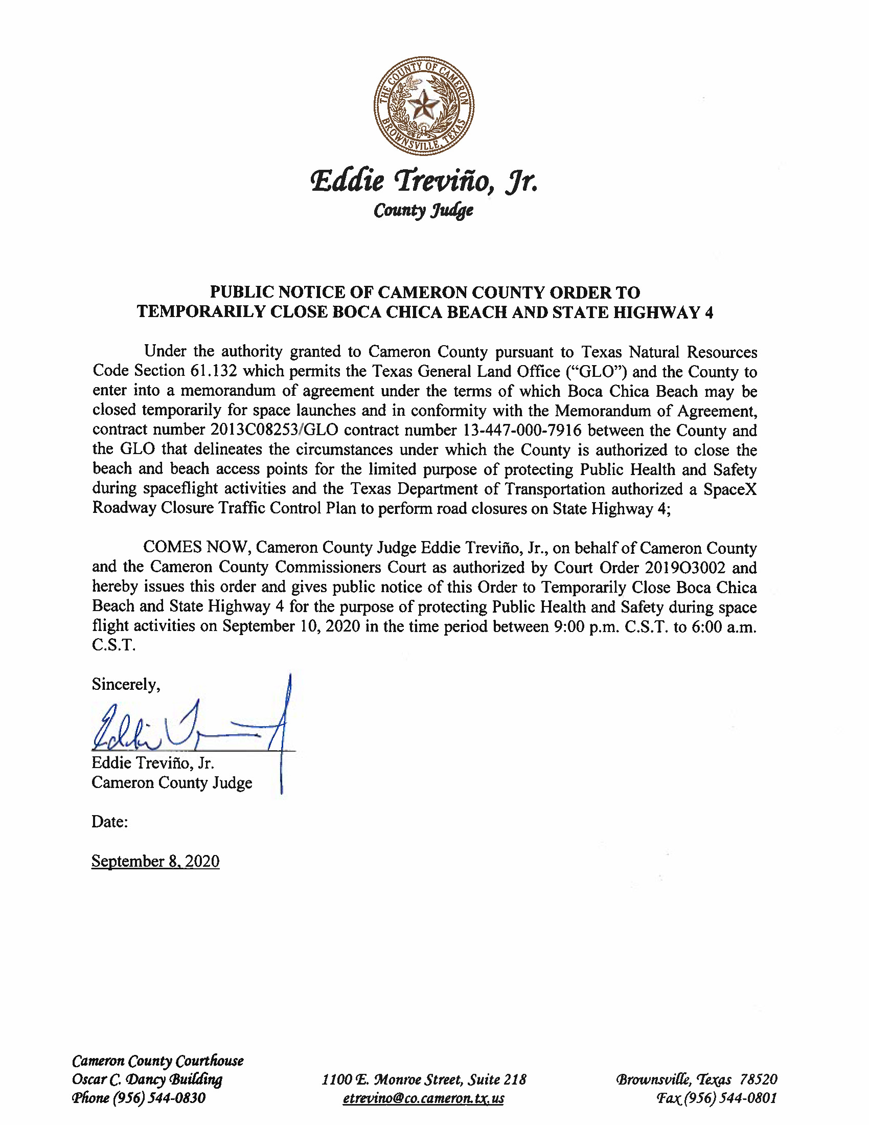 PUBLIC NOTICE OF CAMERON COUNTY ORDER TO TEMP. BEACH CLOSURE AND HWY. 9.10.20.docx Page 1