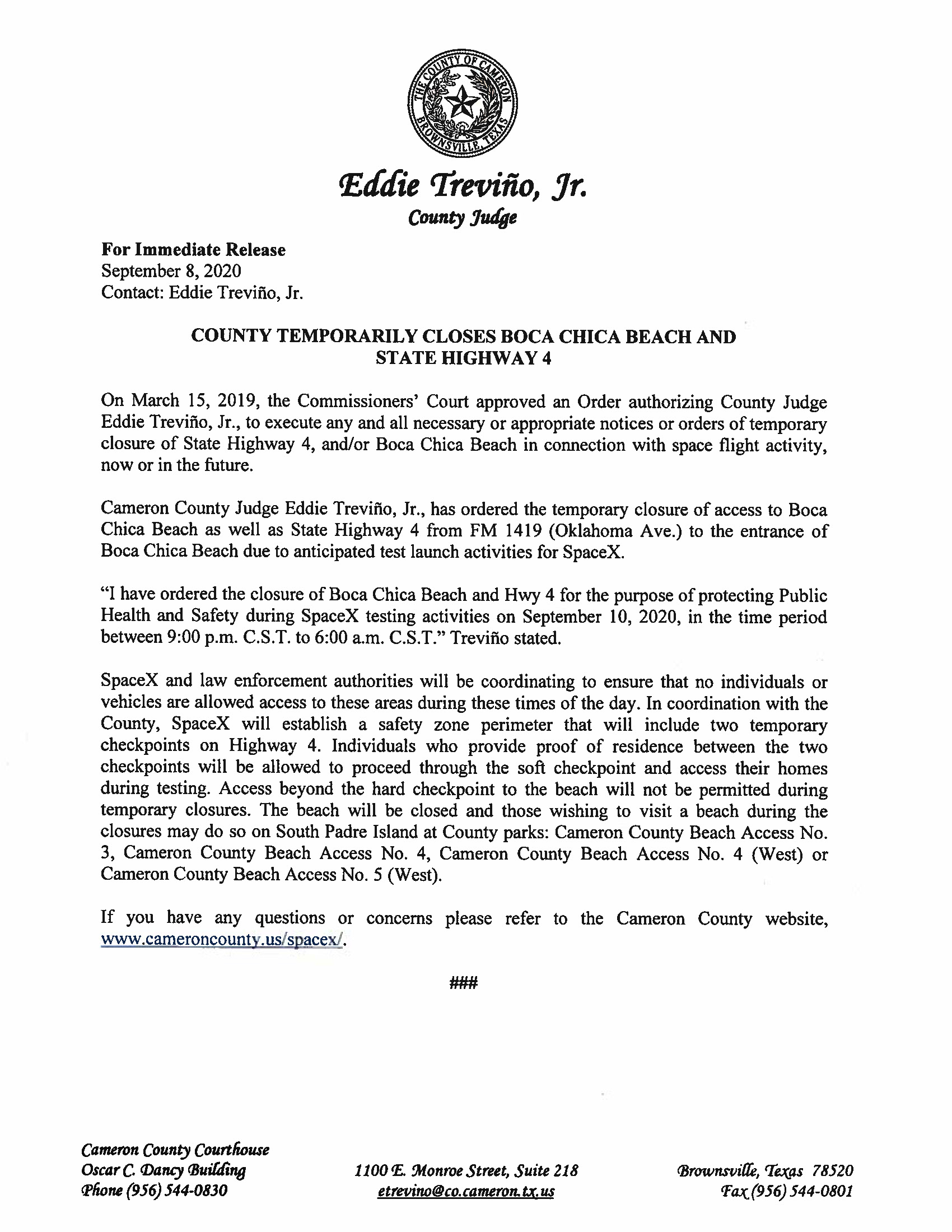 Press Release On Order Of Closure Related To SpaceX Flight English Spanish 9.10.20.doc Page 1