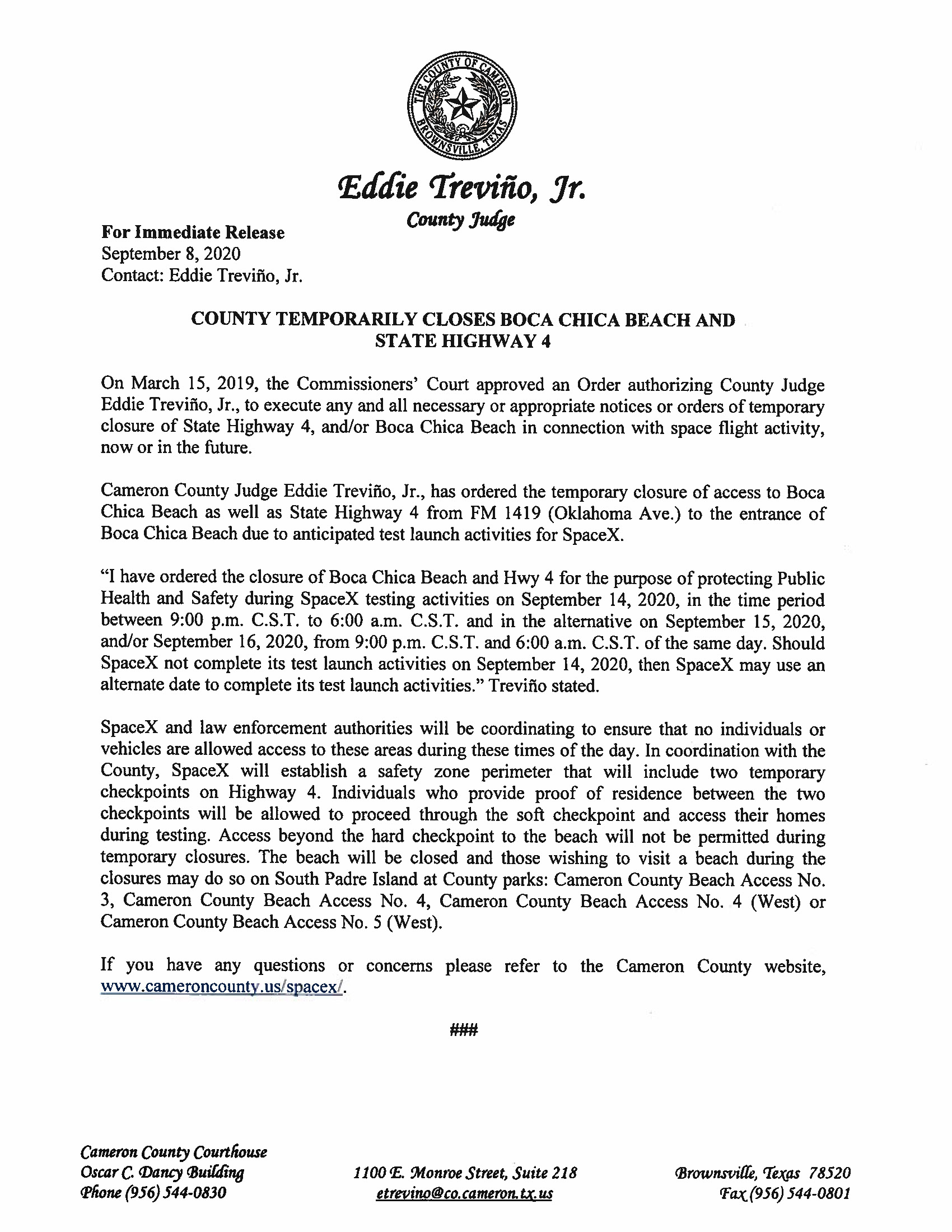 Press Release On Order Of Closure Related To SpaceX Flight English Spanish 9.14.20.doc Page 1