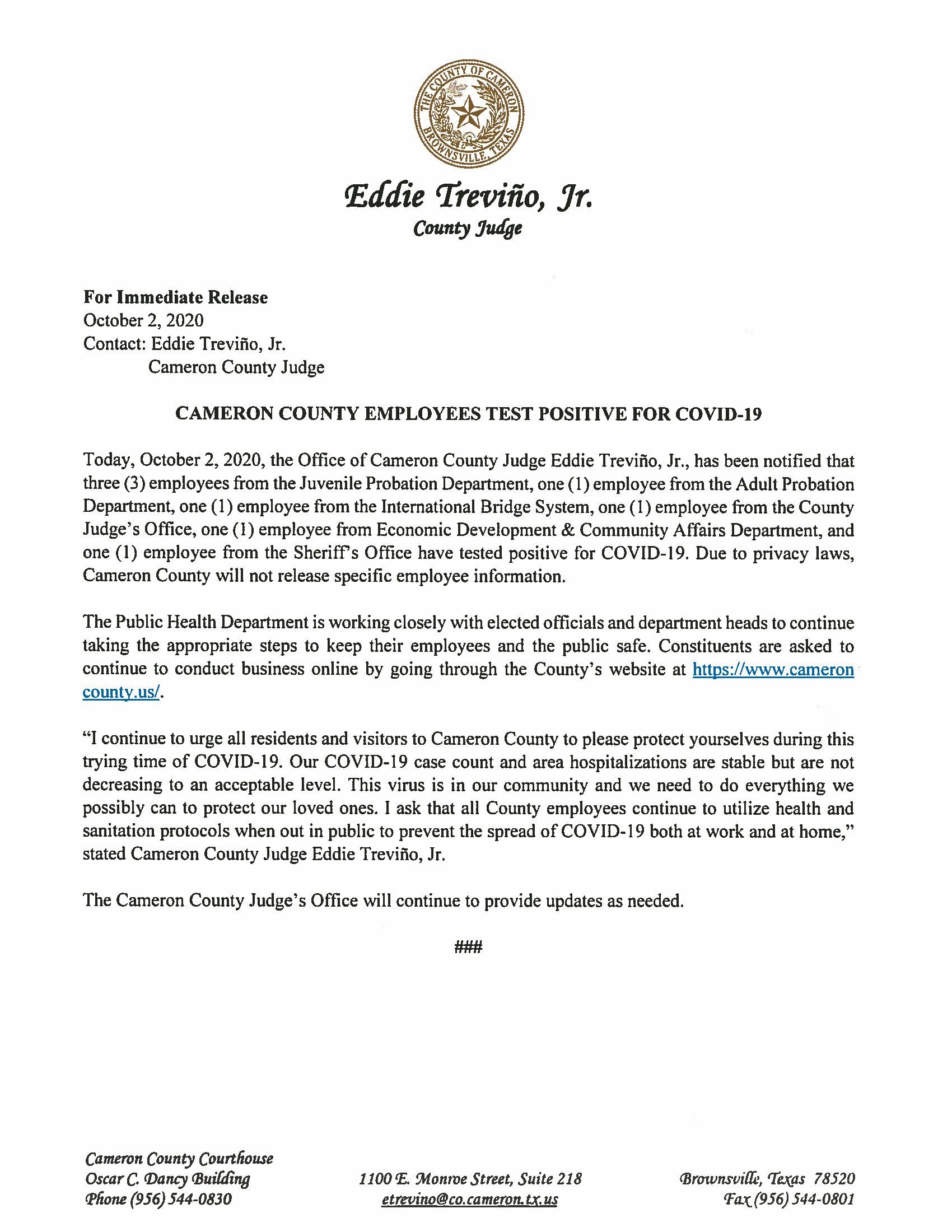 10.02.2020 Cameron County Employees Test Positive For COVID 19