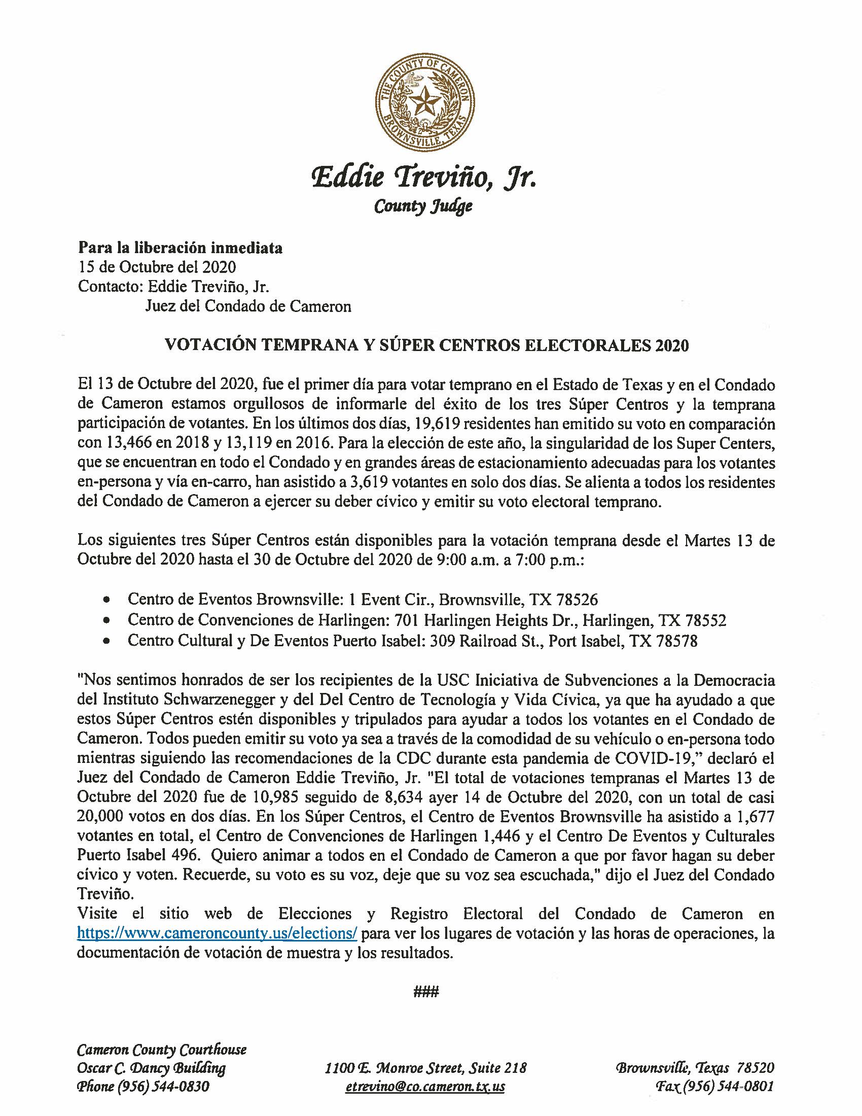 10.15.2020 Votacion Temprana Y Super Centros Electorales 2020