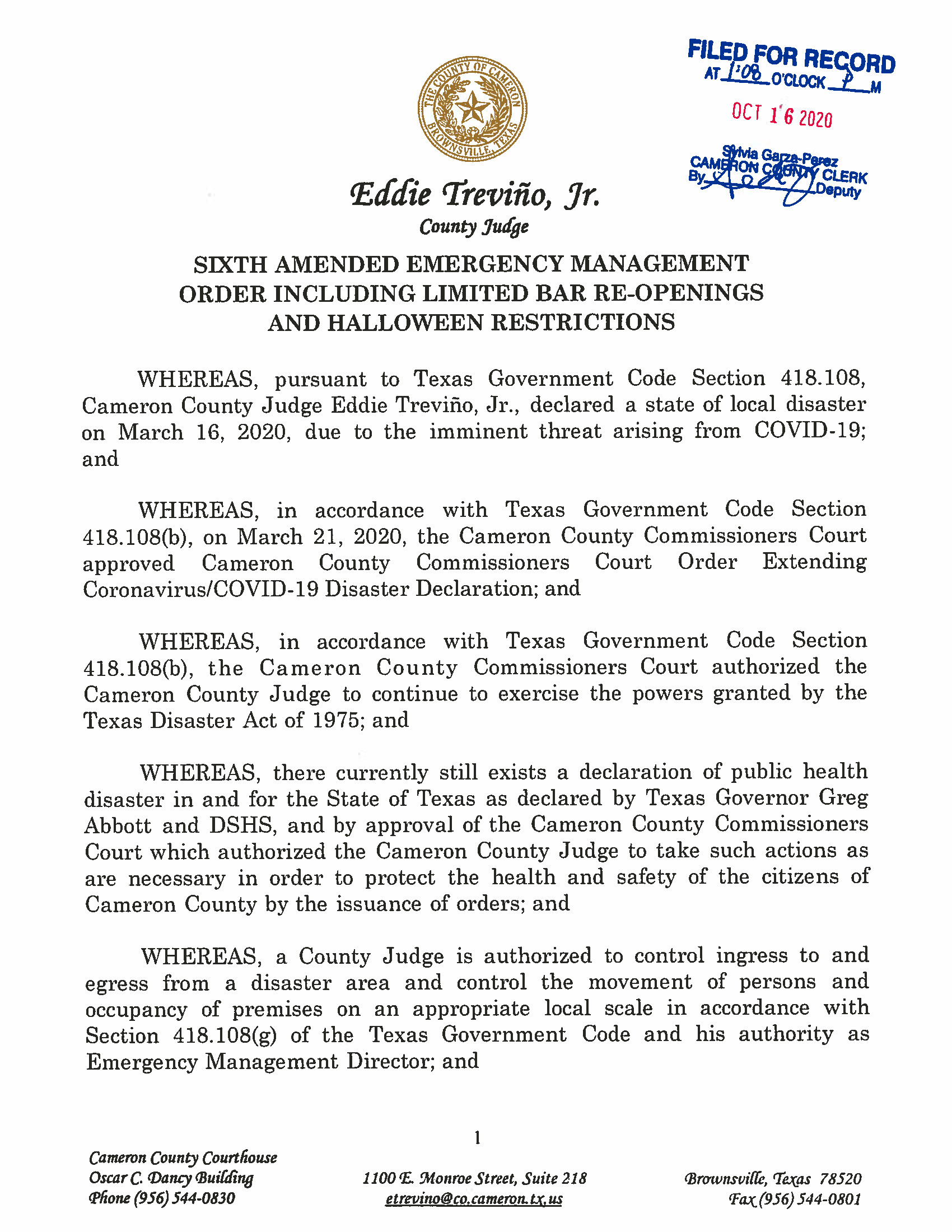 10.16.2020 ORDER Sixth Amended Emergency Management Order Including Limited Bar Re Openings And Halloween Restrictions Page 01