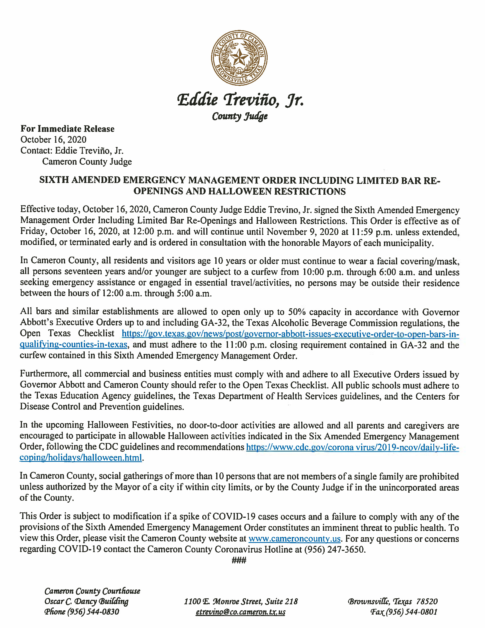 10.16.2020 PR SIxth Amended Emergency Management Order Including Limited Bar Re Openings And Halloween Restrictions