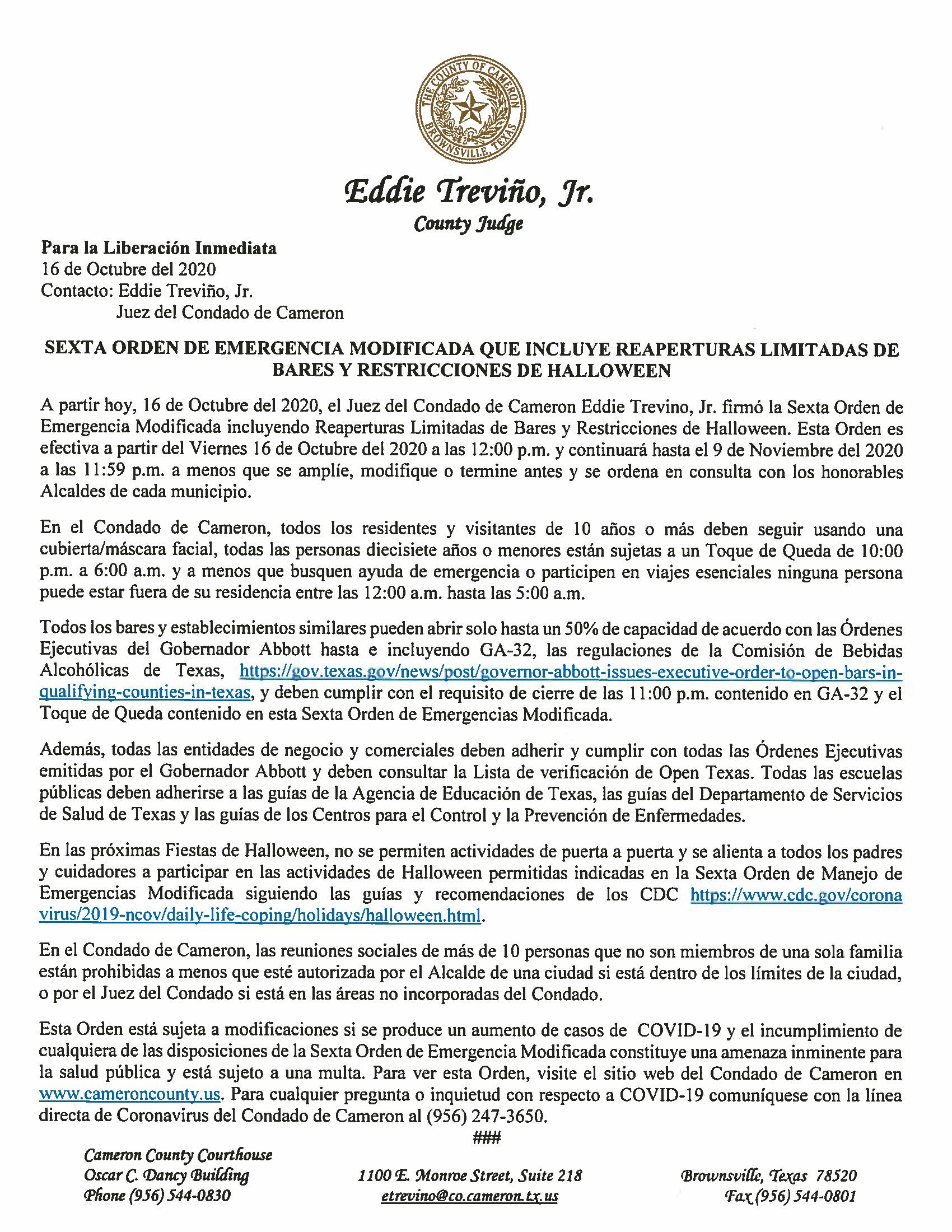 10.16.2020 PR Sexta Orden De Emergencia Modificada Que Incluye Reaperturas Limitadas De Bares Y Restricciones De Halloween