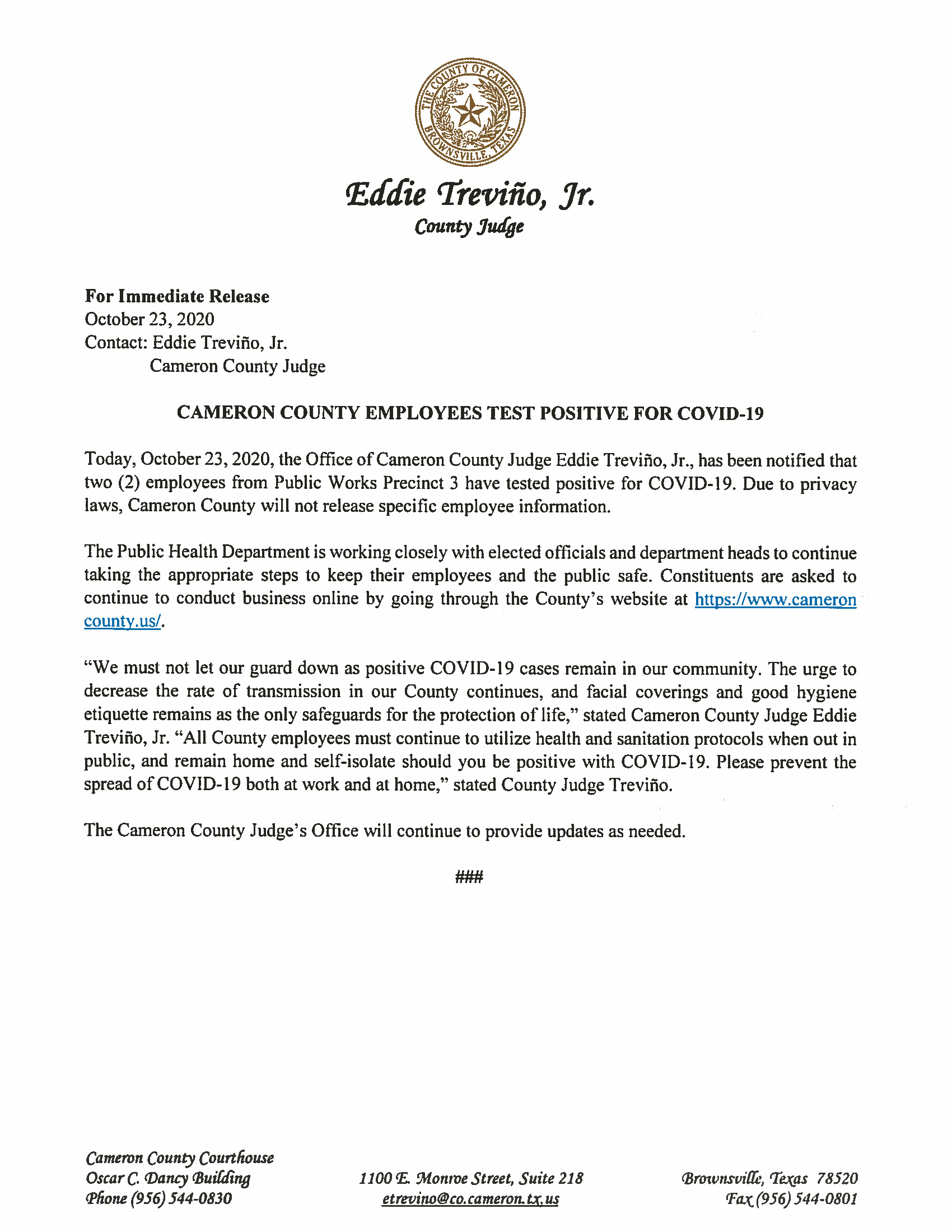 10.23.2020 Cameron County Employees Test Positive For COVID 19