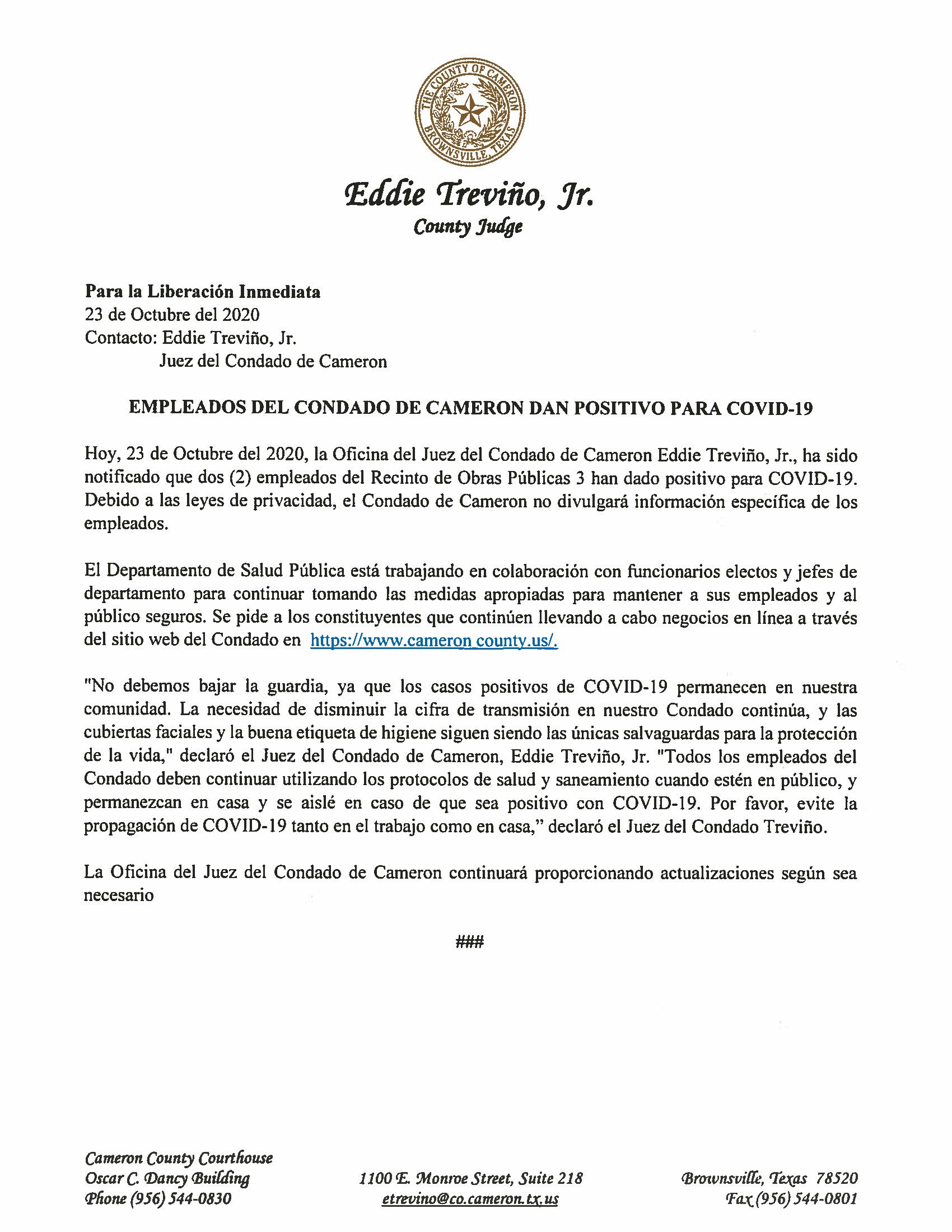 10.23.2020 Empleados Del Condado De Cameron Dan Positivo Para COVID 19
