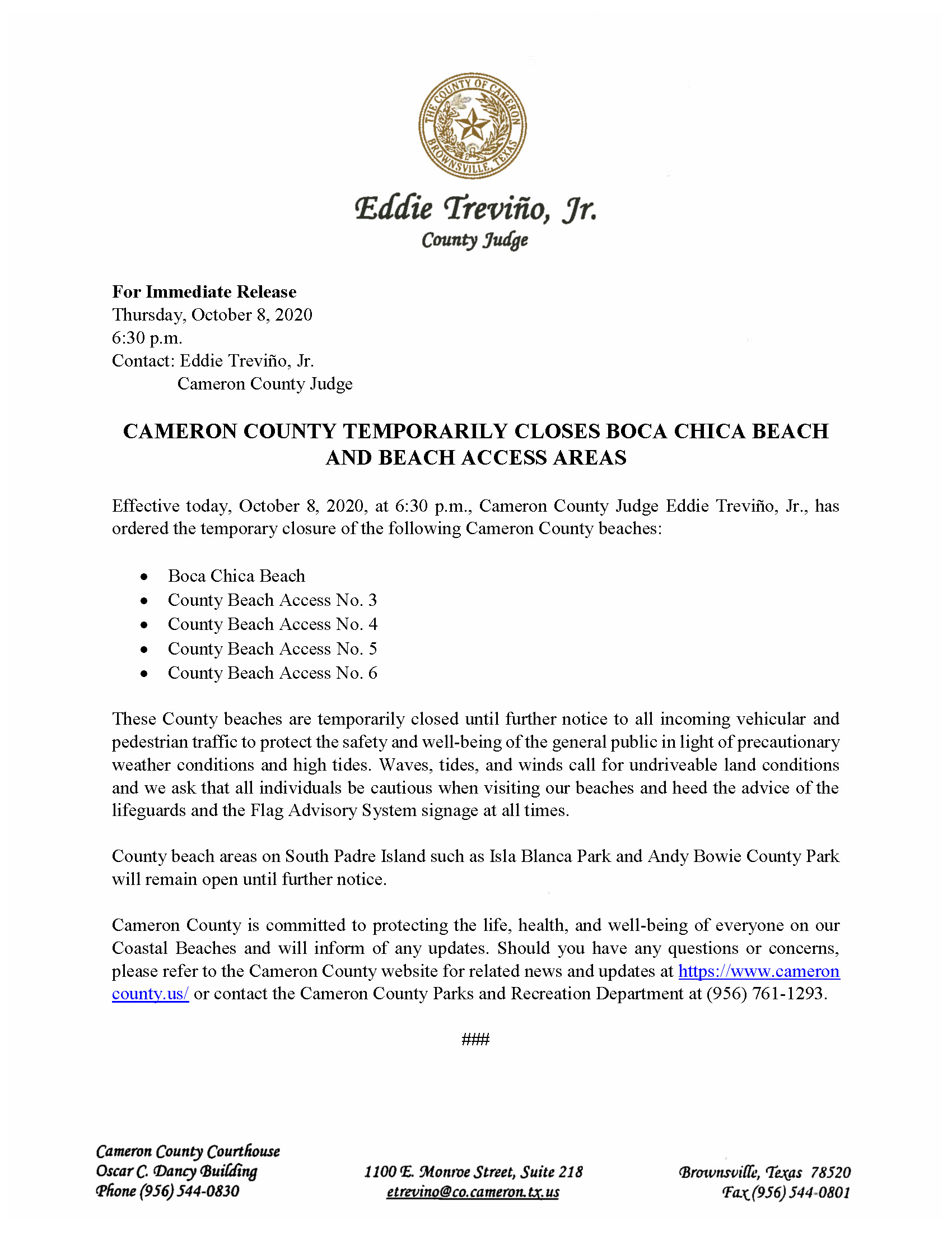 10.8.20 Closure Of County Beaches Due To Weather Conditions