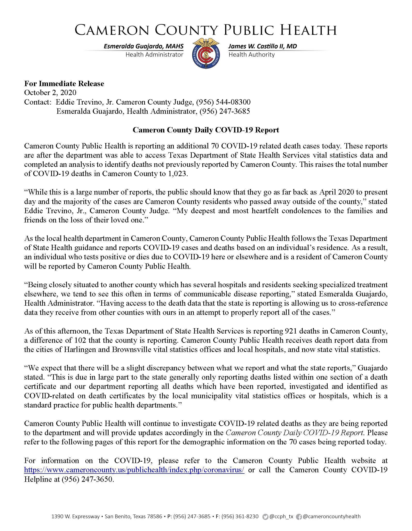 COVID 19 Press Release 164 10.02.2020 22946 Page 1