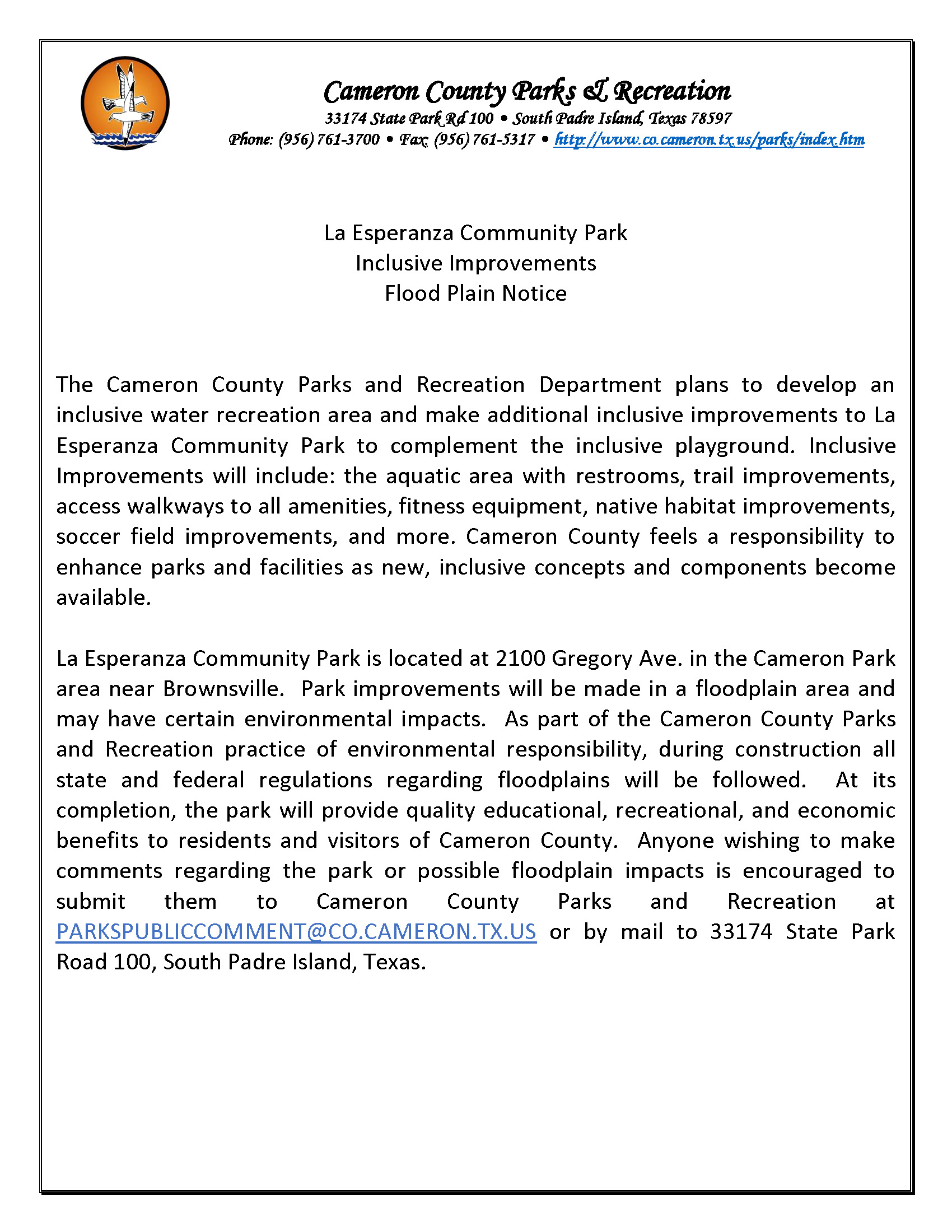 La Esperanza Community Park Inclusive Improvements Flood Plain Notice TPWD
