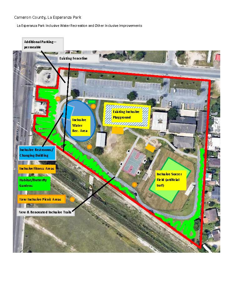 La Esperanza Community Park Inclusive Improvements Flood Plain Notice TPWD Site Plan