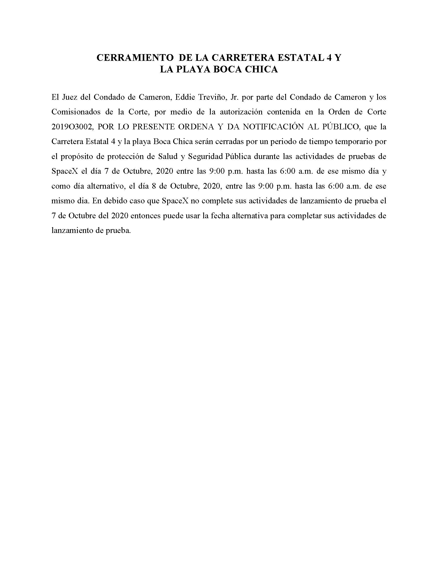ORDER.CLOSURE OF HIGHWAY 4 Y LA PLAYA BOCA CHICA.SPANISH.10.07.20