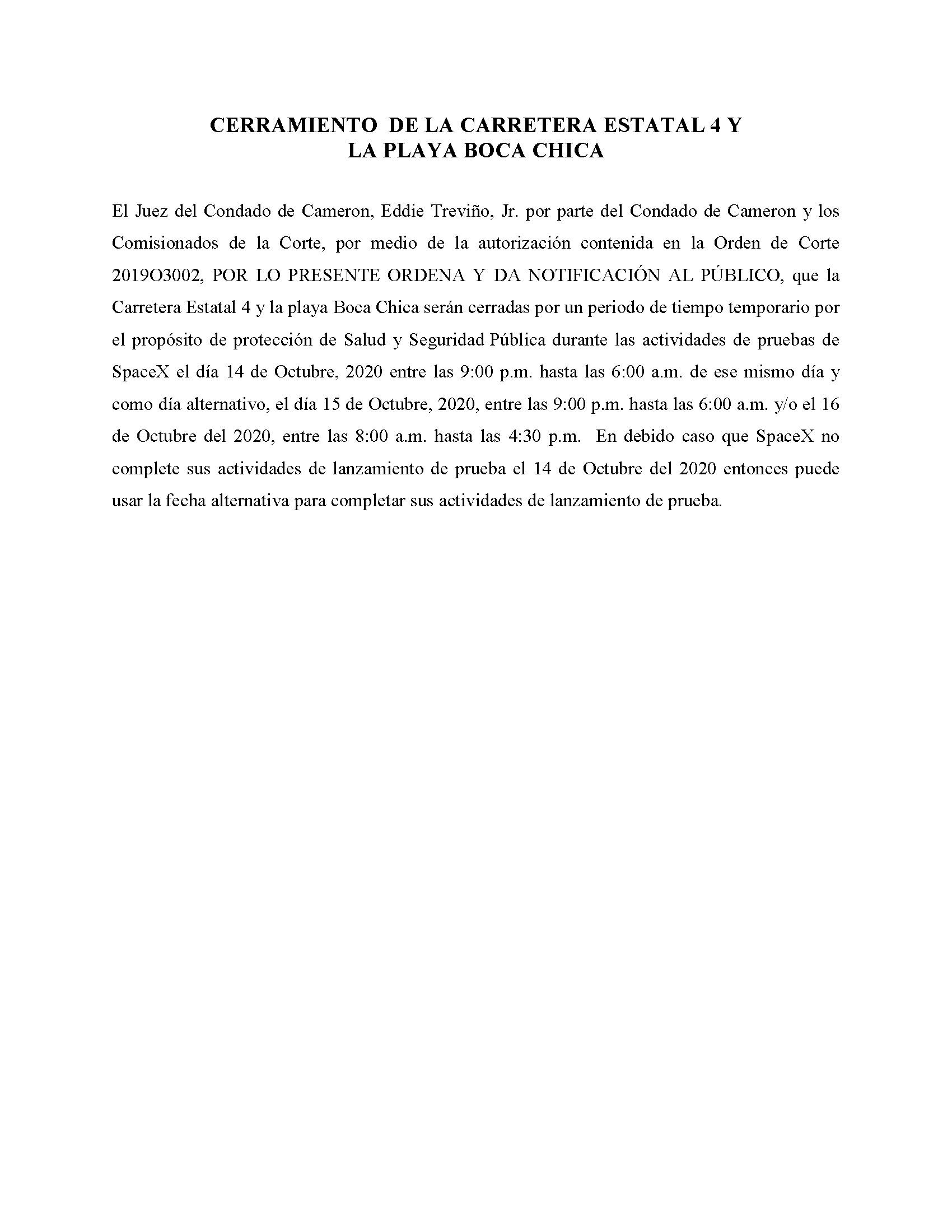 ORDER.CLOSURE OF HIGHWAY 4 Y LA PLAYA BOCA CHICA.SPANISH.10.14.20