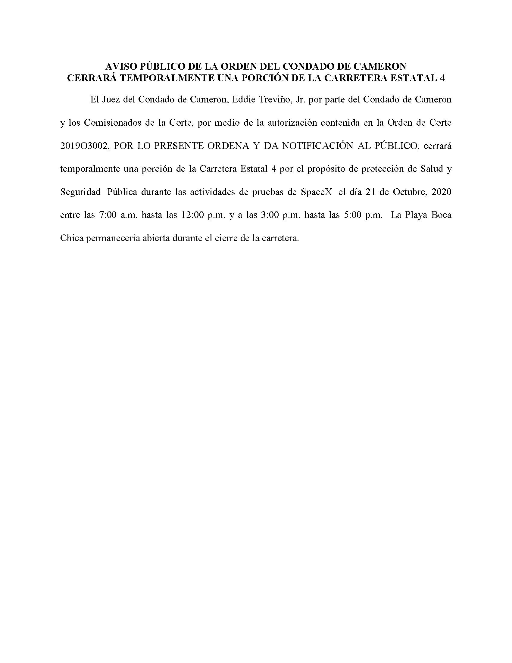 ORDER.CLOSURE OF HIGHWAY 4.SPANISH.10.21.20