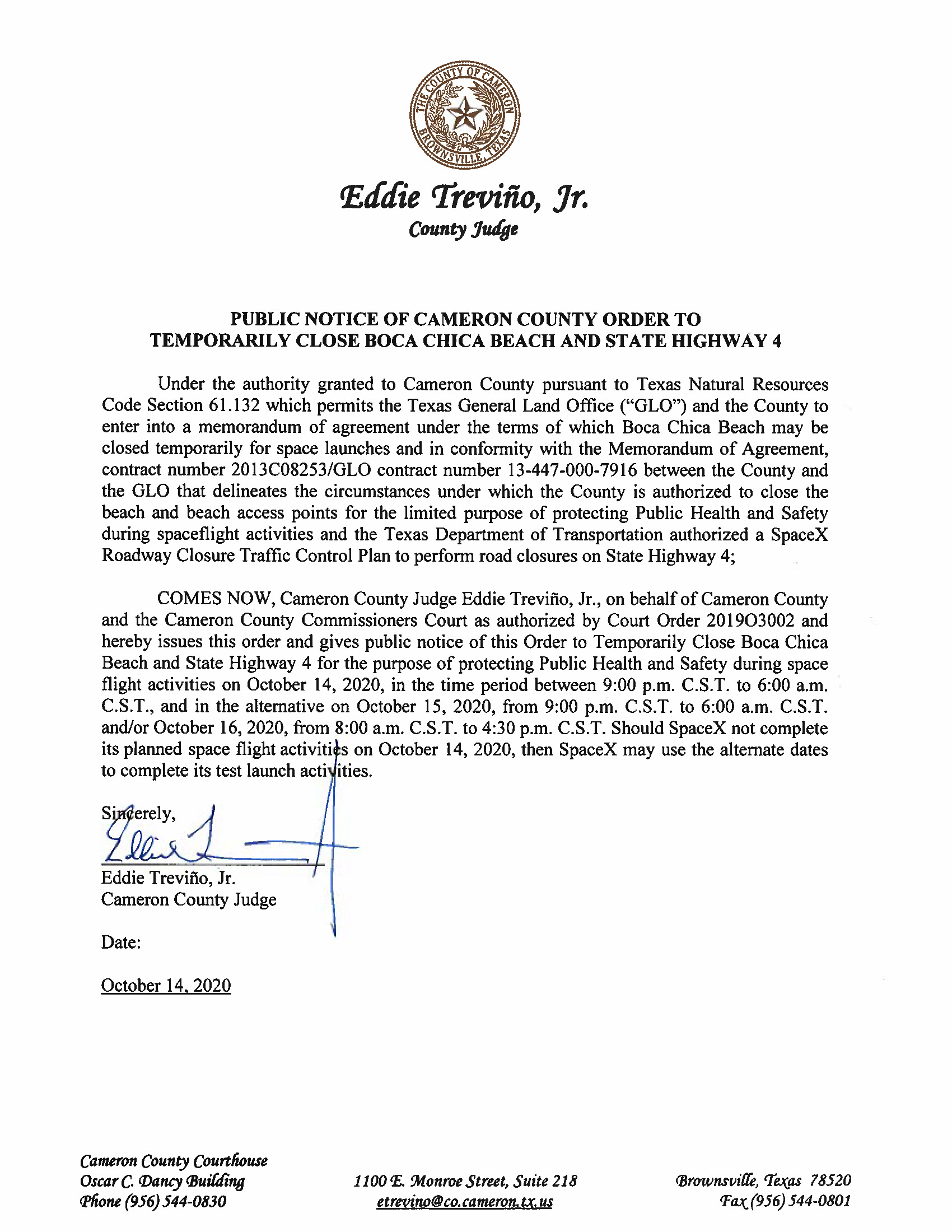 PUBLIC NOTICE OF CAMERON COUNTY ORDER TO TEMP. BEACH CLOSURE AND HWY.10.14.20 Page 1