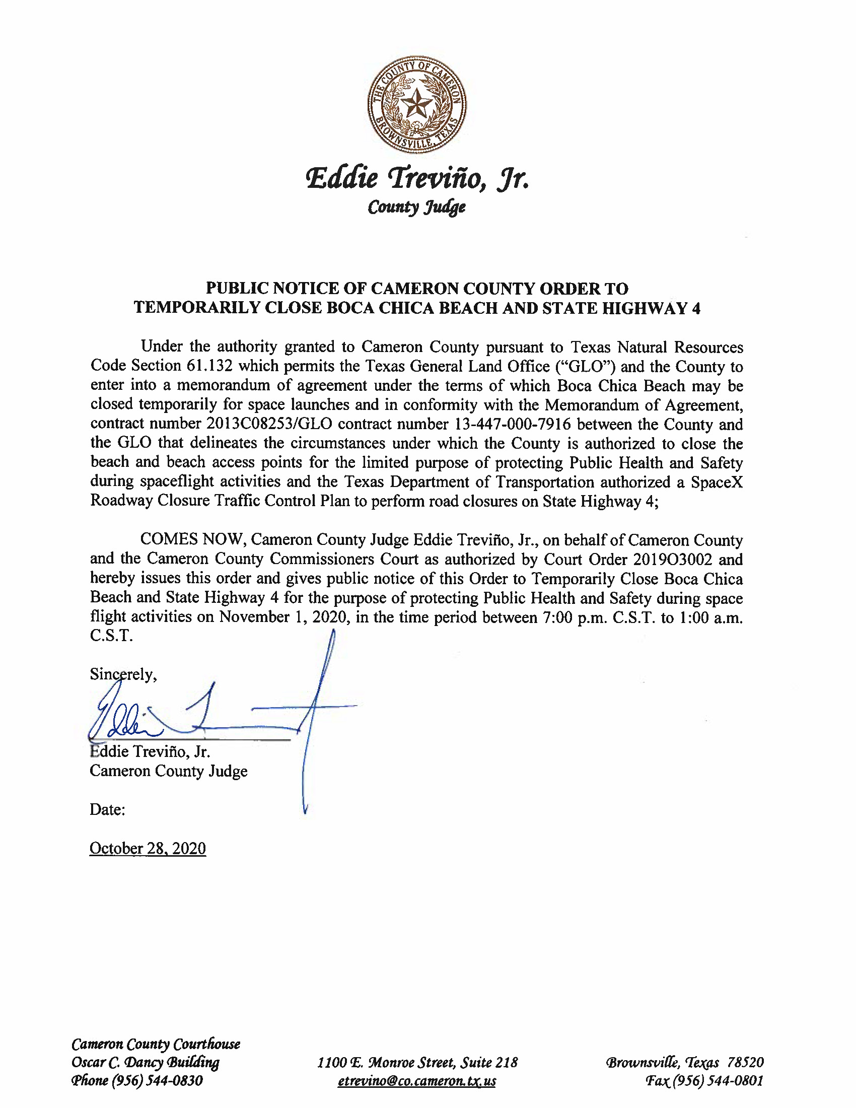 PUBLIC NOTICE OF CAMERON COUNTY ORDER TO TEMP. BEACH CLOSURE AND HWY.11.01.20.docx Page 1