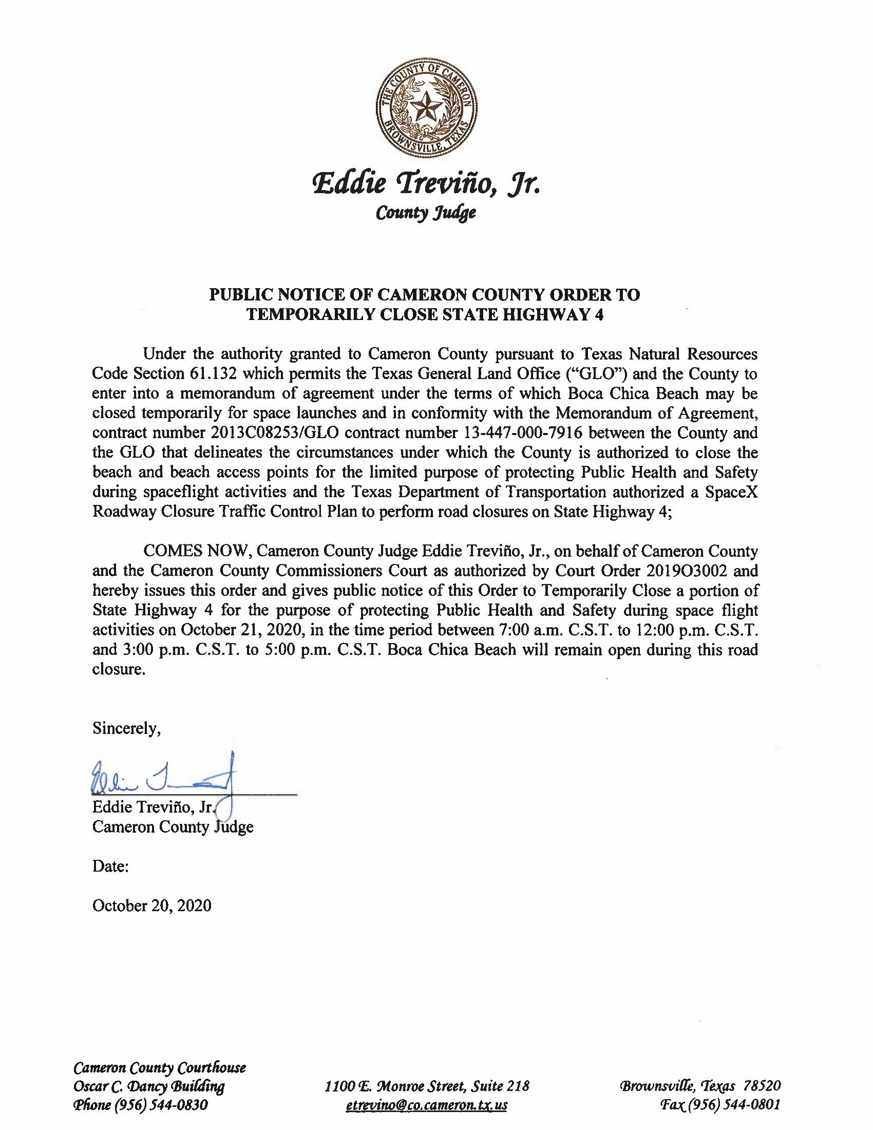 PUBLIC NOTICE OF CAMERON COUNTY ORDER TO TEMP. ROAD CLOSURE. 10.21.20