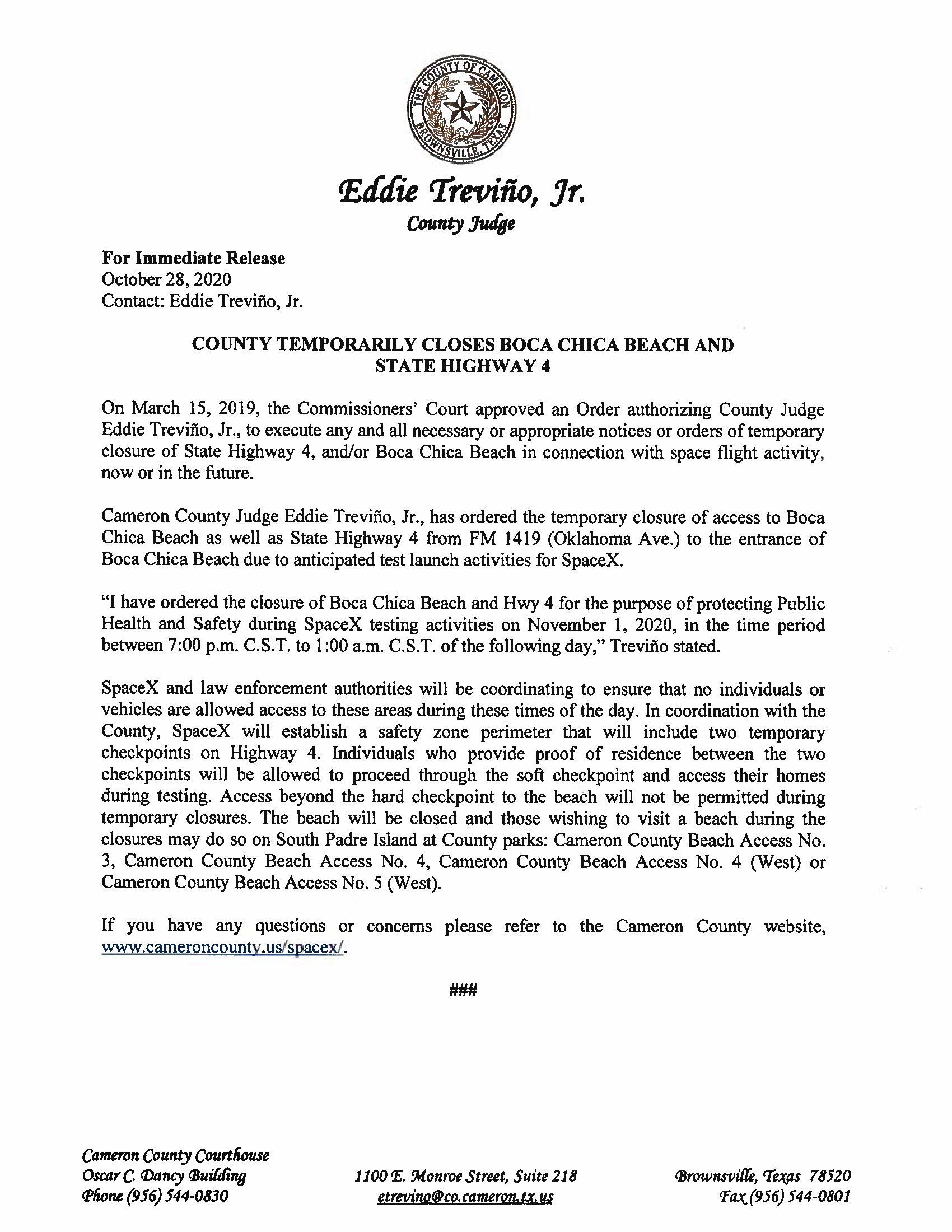 Press Release On Order Of Closure Related To SpaceX Flight.11.01.20.doc Page 1