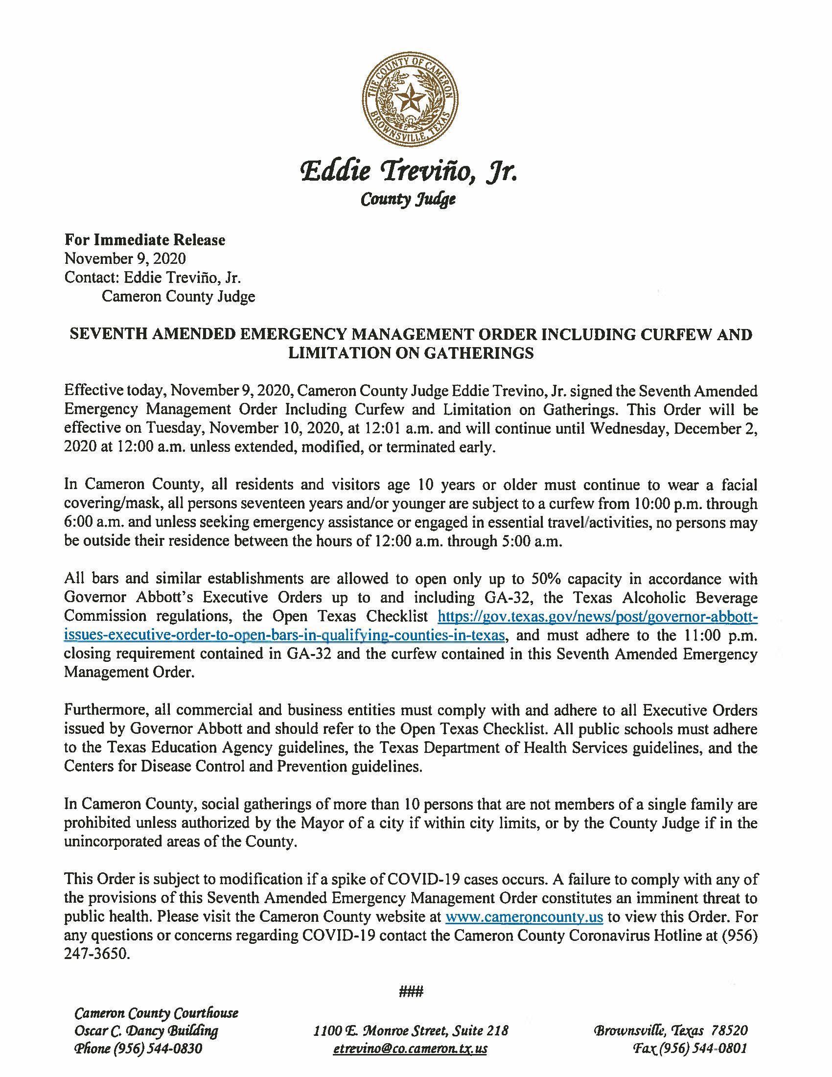 11.09.2020 For Immediate Release Seventh Amended Emergency Management Order