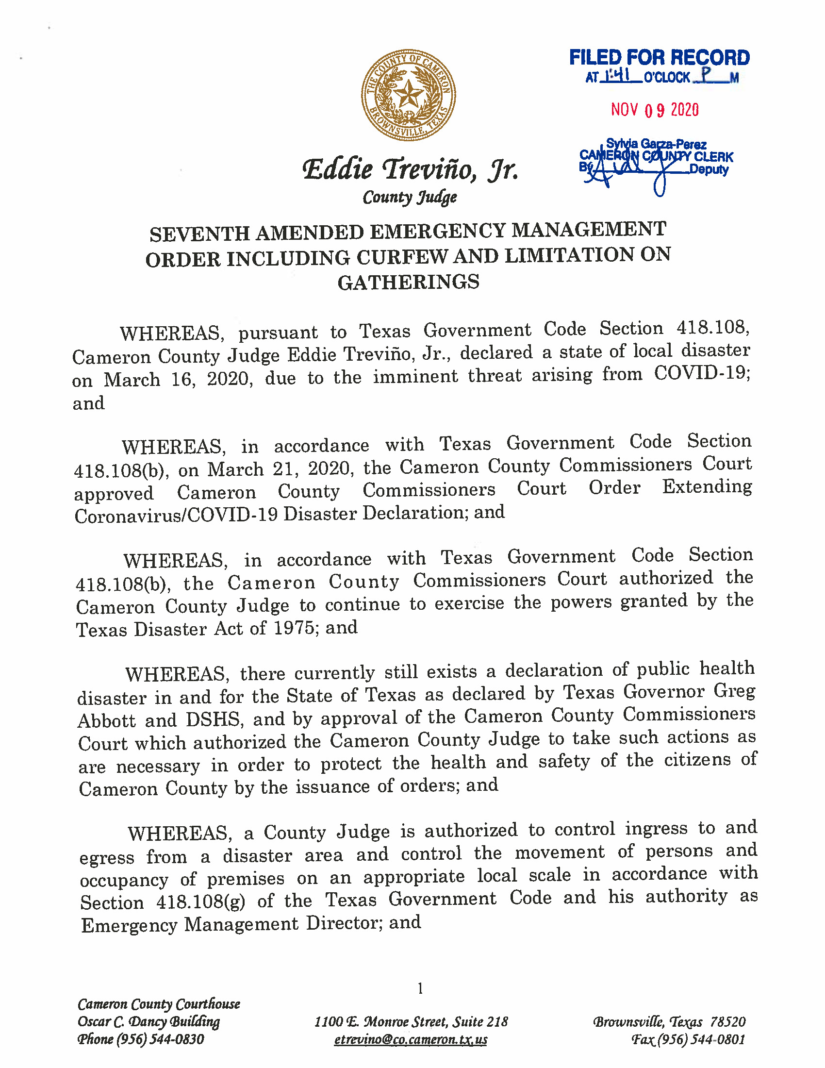 11.09.2020 Seventh Amended Emergency Management Order Page 1