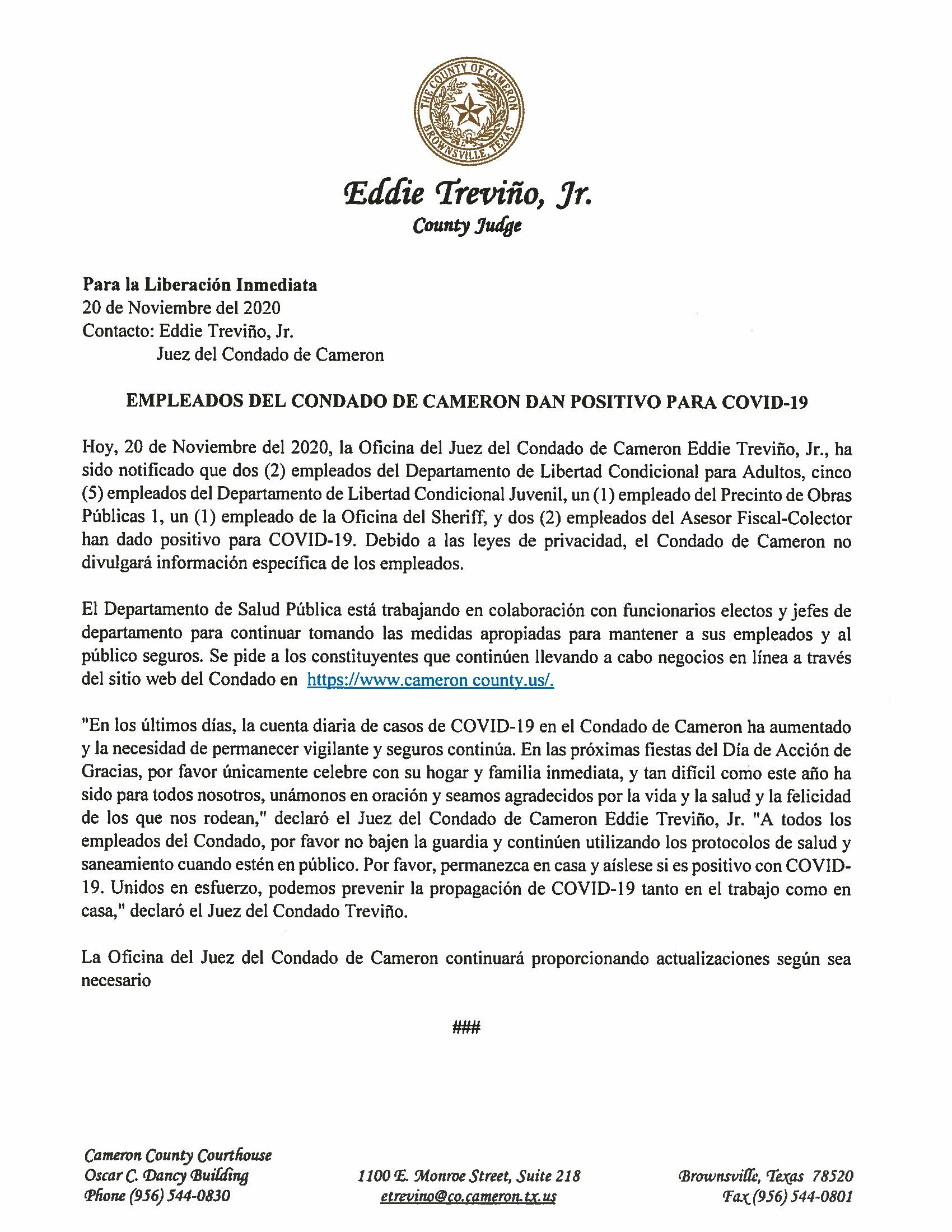 11.20.2020 Empleados Del Condado De Cameron Dan Positivo Para COVID 19