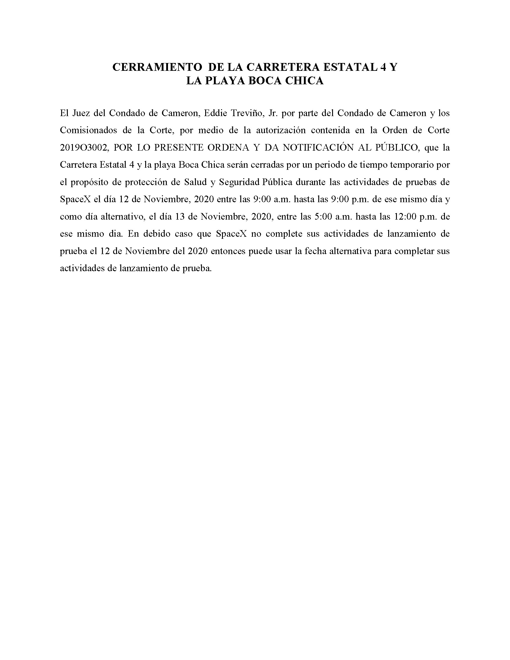 ORDER.CLOSURE OF HIGHWAY 4 Y LA PLAYA BOCA CHICA.SPANISH.11.12.20