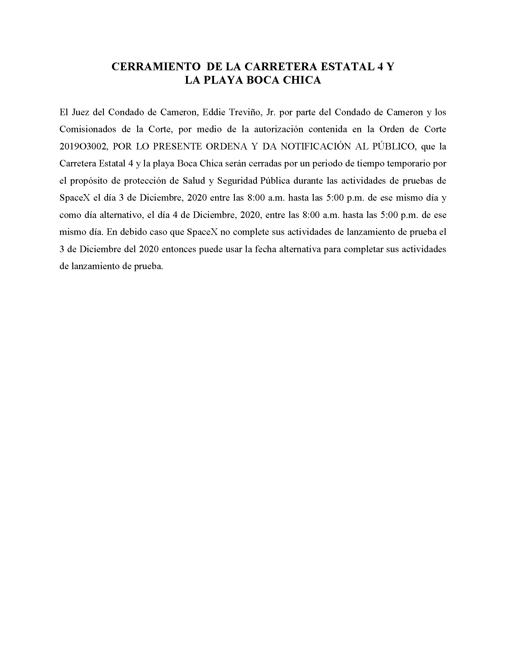 ORDER.CLOSURE OF HIGHWAY 4 Y LA PLAYA BOCA CHICA.SPANISH.12.03.20