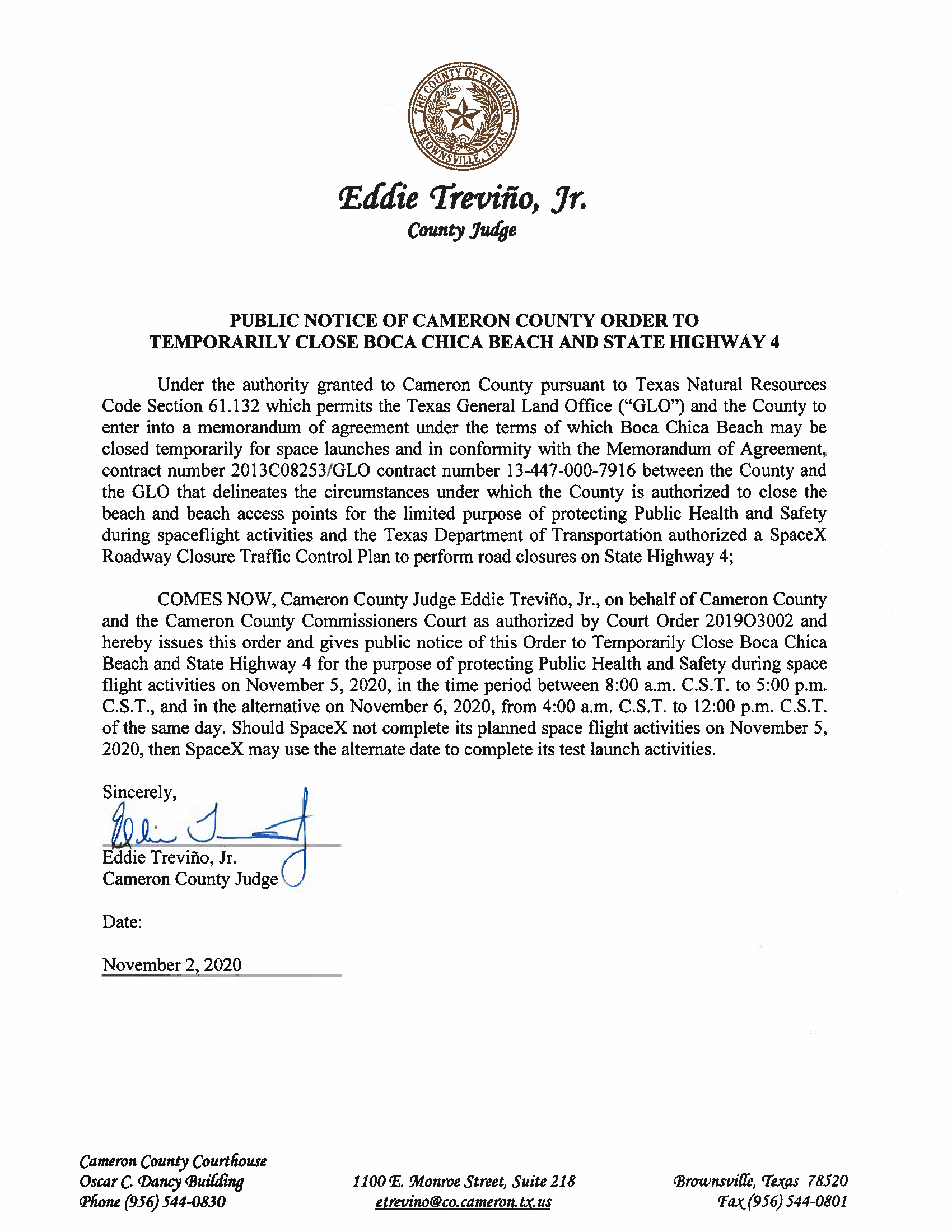 PUBLIC NOTICE OF CAMERON COUNTY ORDER TO TEMP. BEACH CLOSURE AND HWY.11.05.20 Page 1