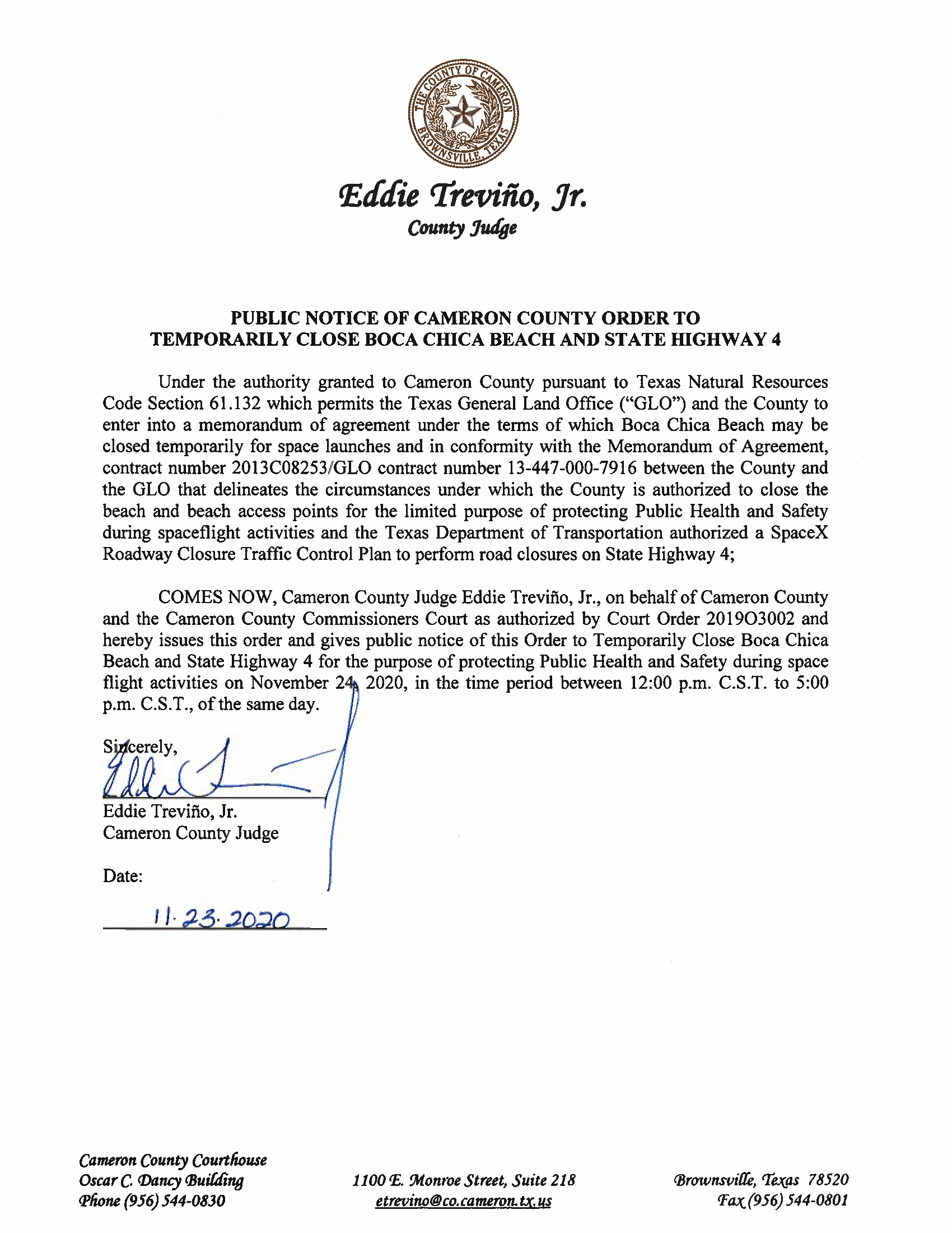 PUBLIC NOTICE OF CAMERON COUNTY ORDER TO TEMP. BEACH CLOSURE AND HWY.11.24.20 Page 1