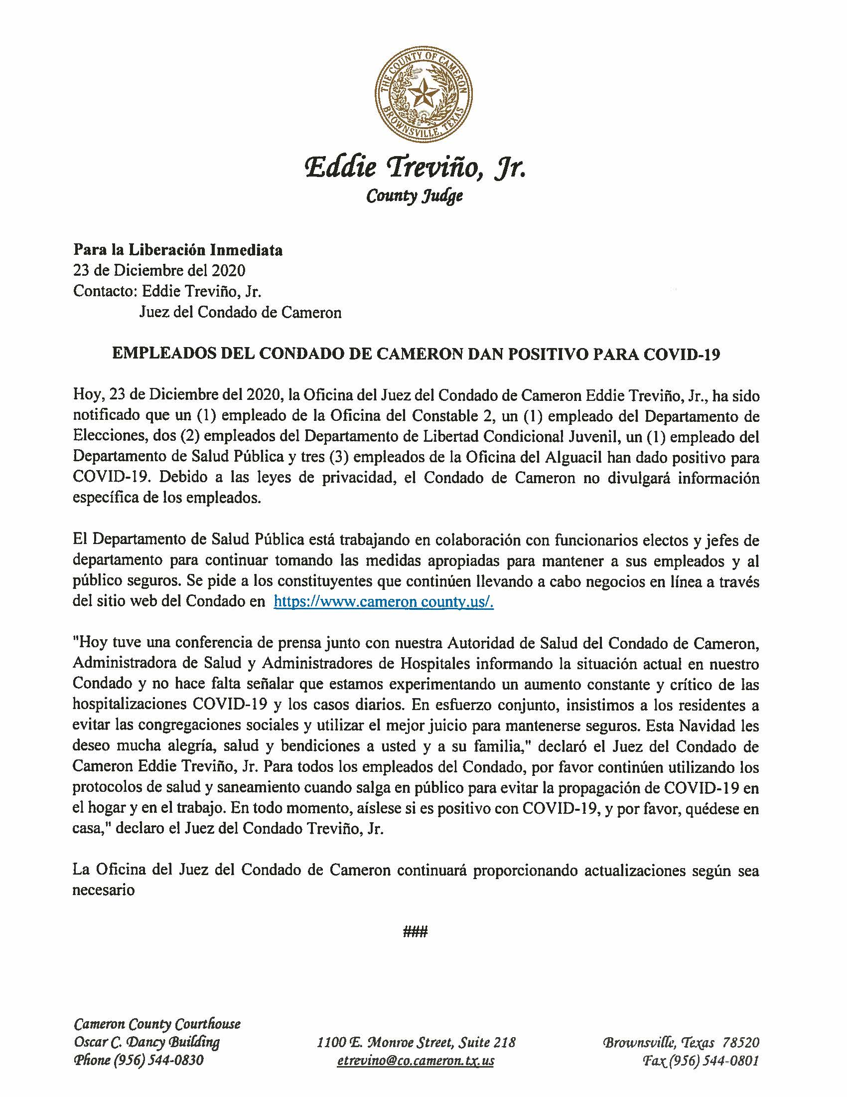 12.23.2020 Empleados Del Condado De Cameron Dan Positivo Para COVID 19