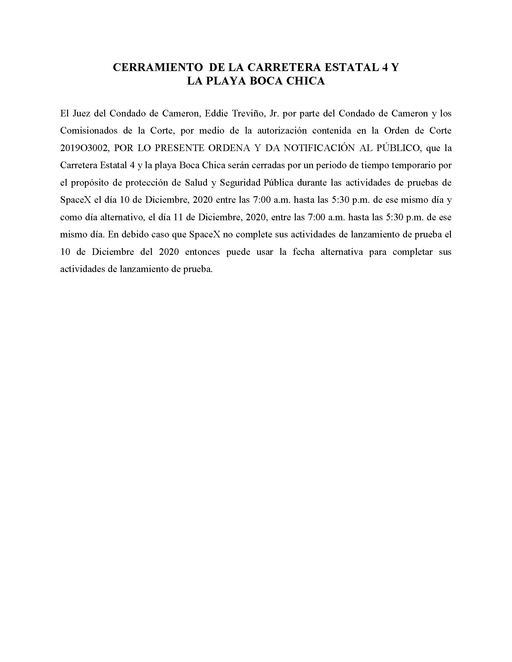 ORDER.CLOSURE OF HIGHWAY 4 Y LA PLAYA BOCA CHICA.SPANISH.12.10.2020