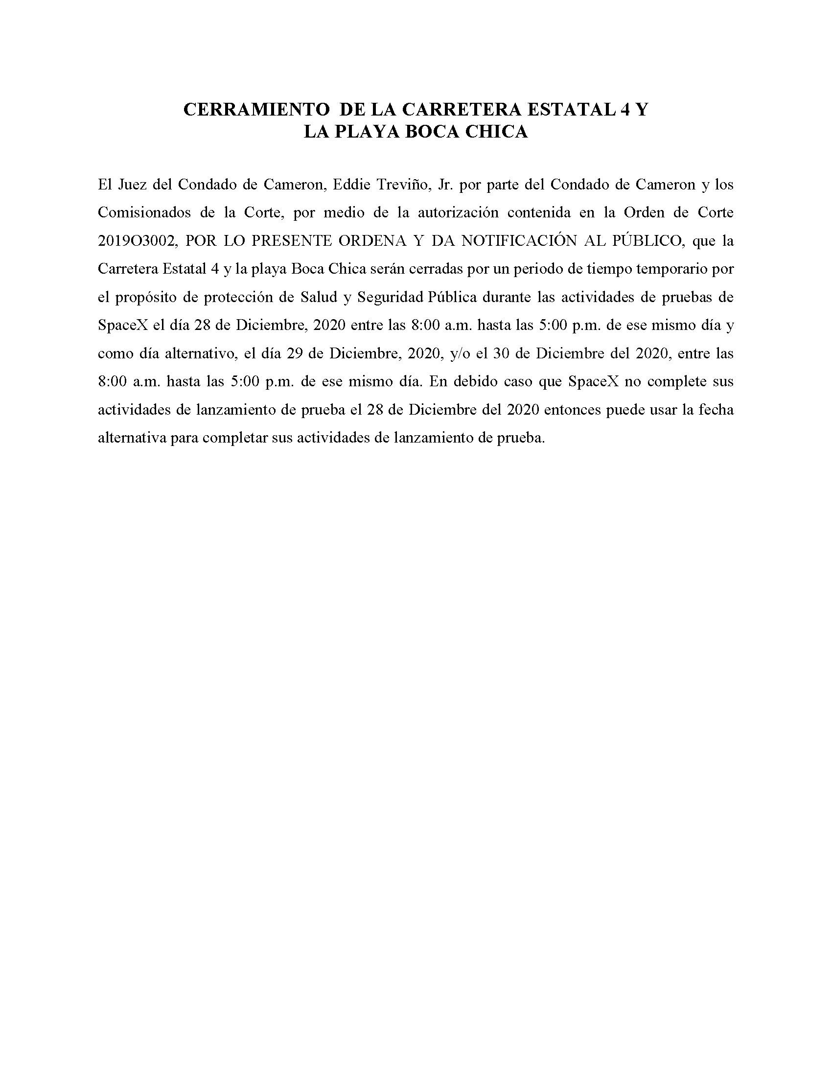 ORDER.CLOSURE OF HIGHWAY 4 Y LA PLAYA BOCA CHICA.SPANISH.12.28.20