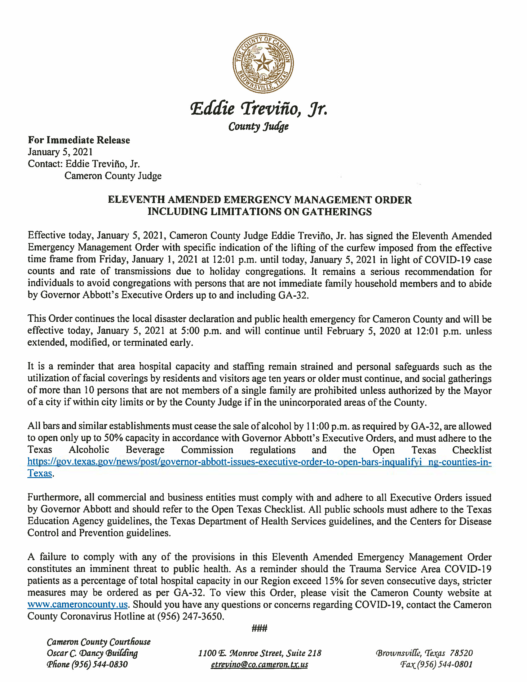 Elevent Amended Emergency Management Order Press Release