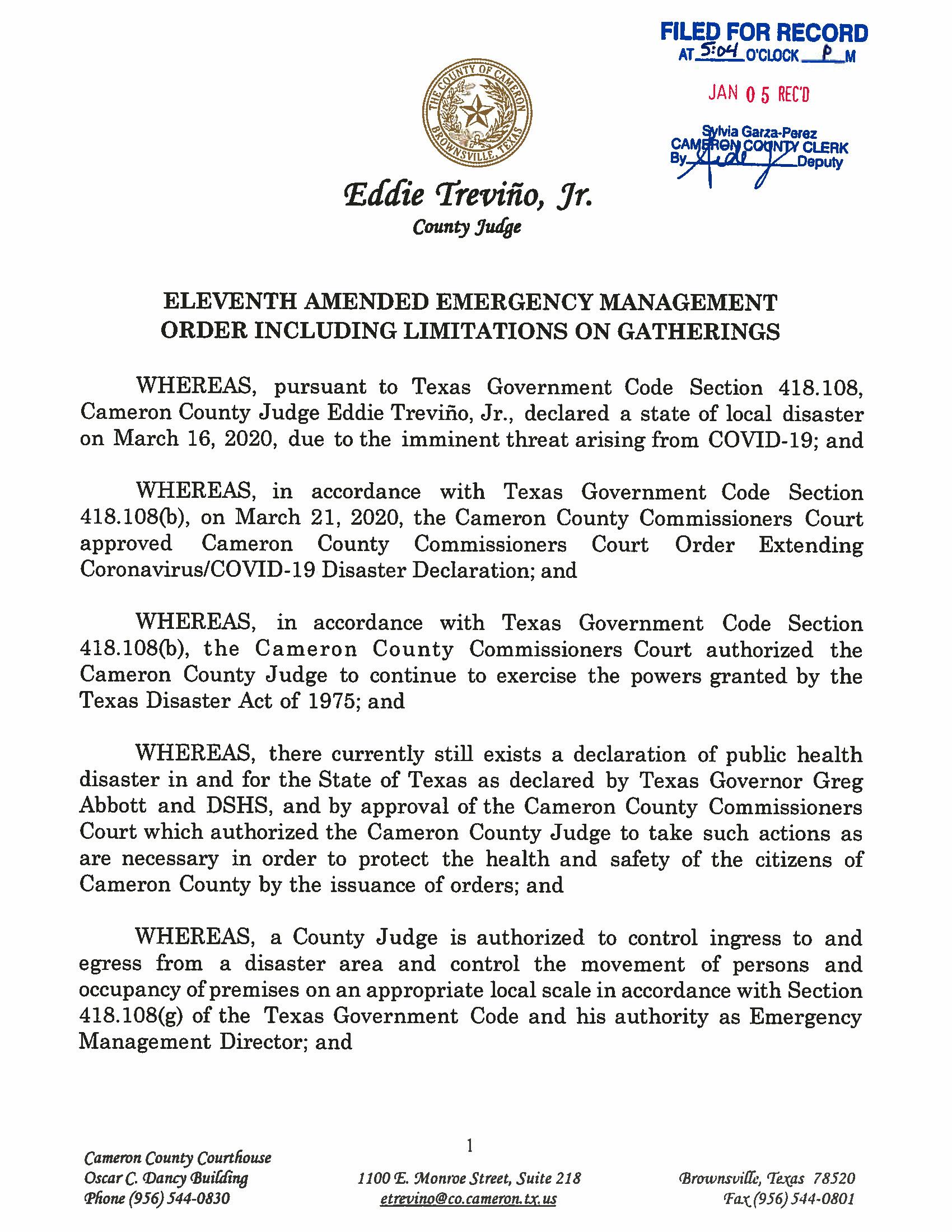 Elevent Amended Emergency Management Order