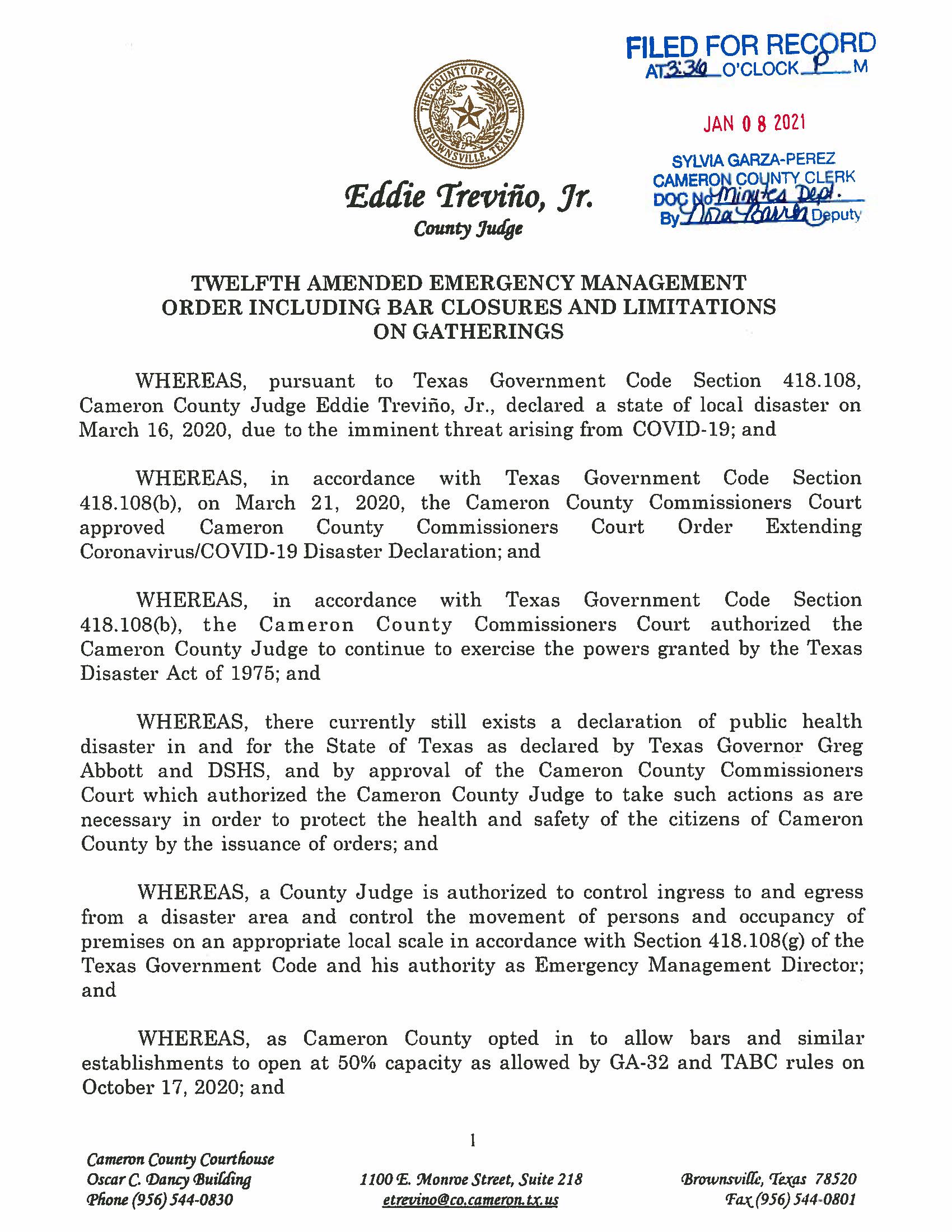 Twelve Amended Emergency Management Order