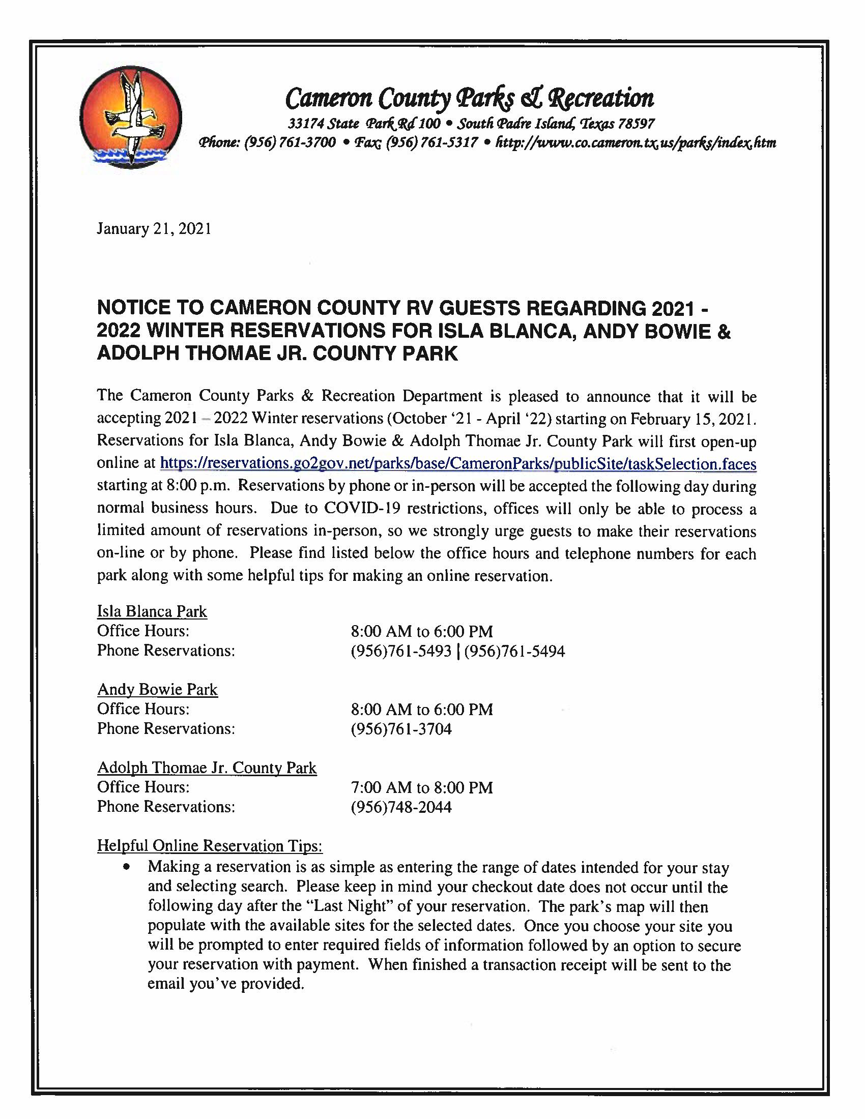Notice to Cameron County RV Guests