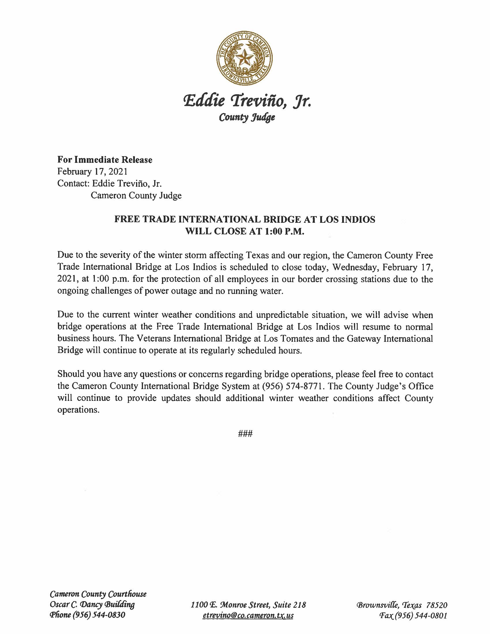 2.17.21 Free Trade International Bridge At Los Indios Will Close At 1pm