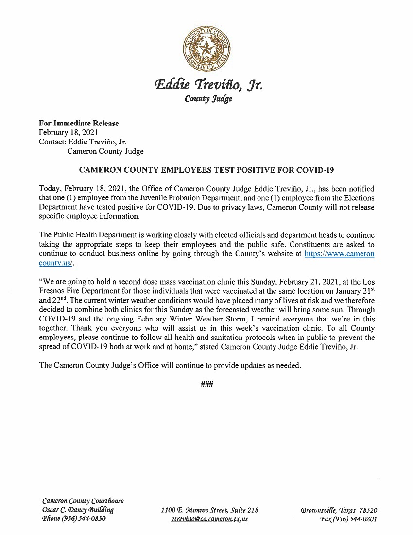 2.18.21 Cameron County Employees Test Positive For COVID 19