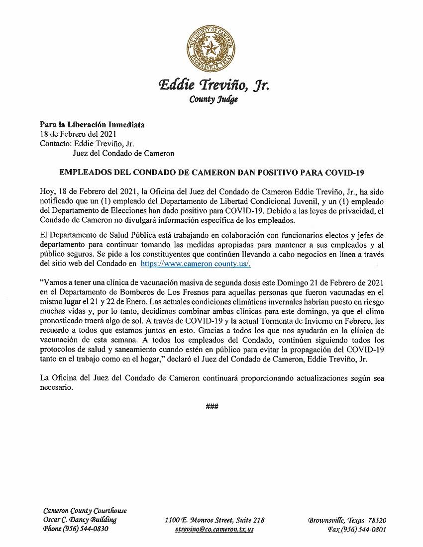2.18.21 Empleados Del Condado De Cameron Dan Positivo Para COVID 19