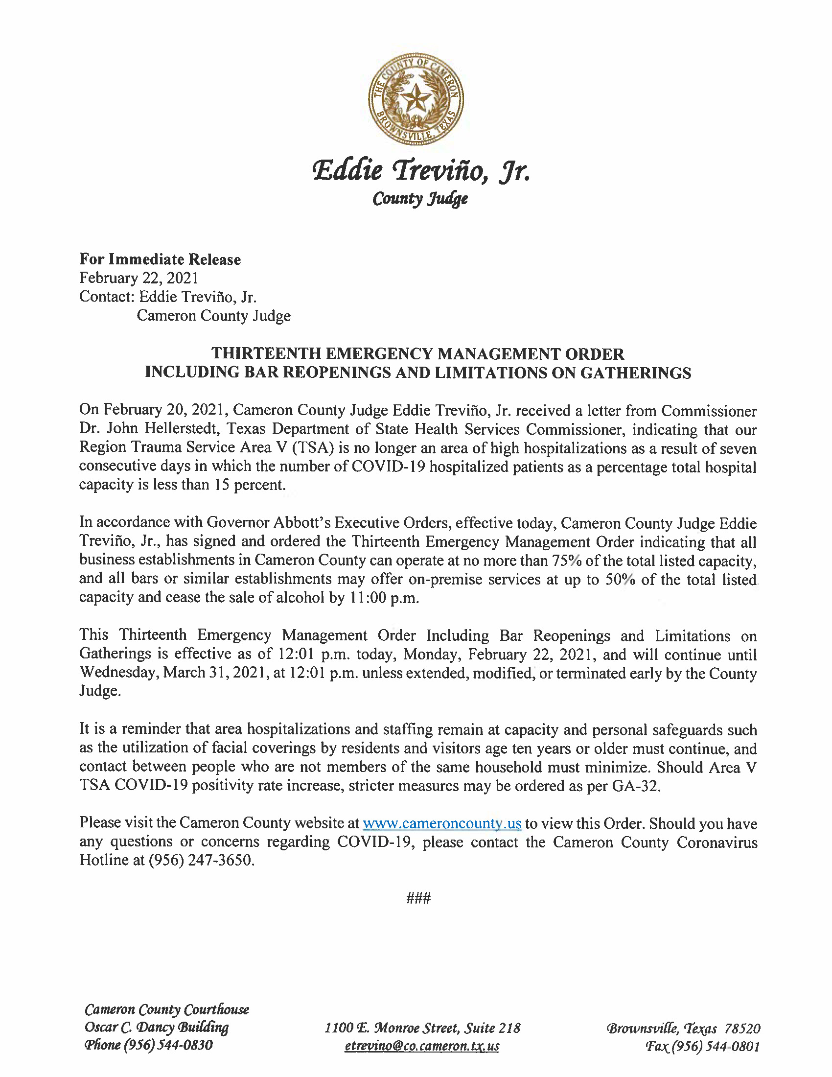 2.22.21 Release Thirteenth Emergency Management Order Including Bar Reopenings And Limitations On Gatherings