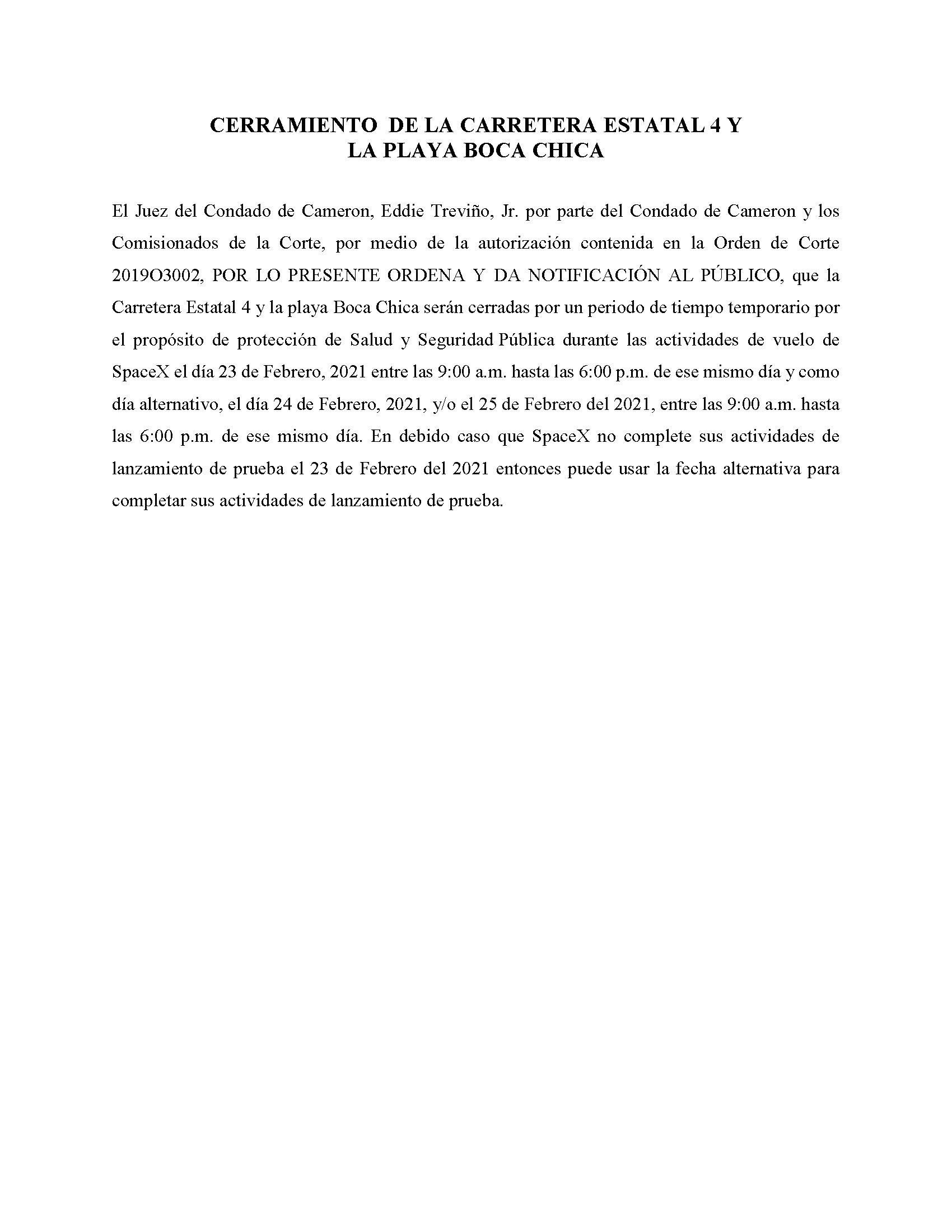 ORDER.CLOSURE OF HIGHWAY 4 Y LA PLAYA BOCA CHICA.SPANISH.02.23.2021