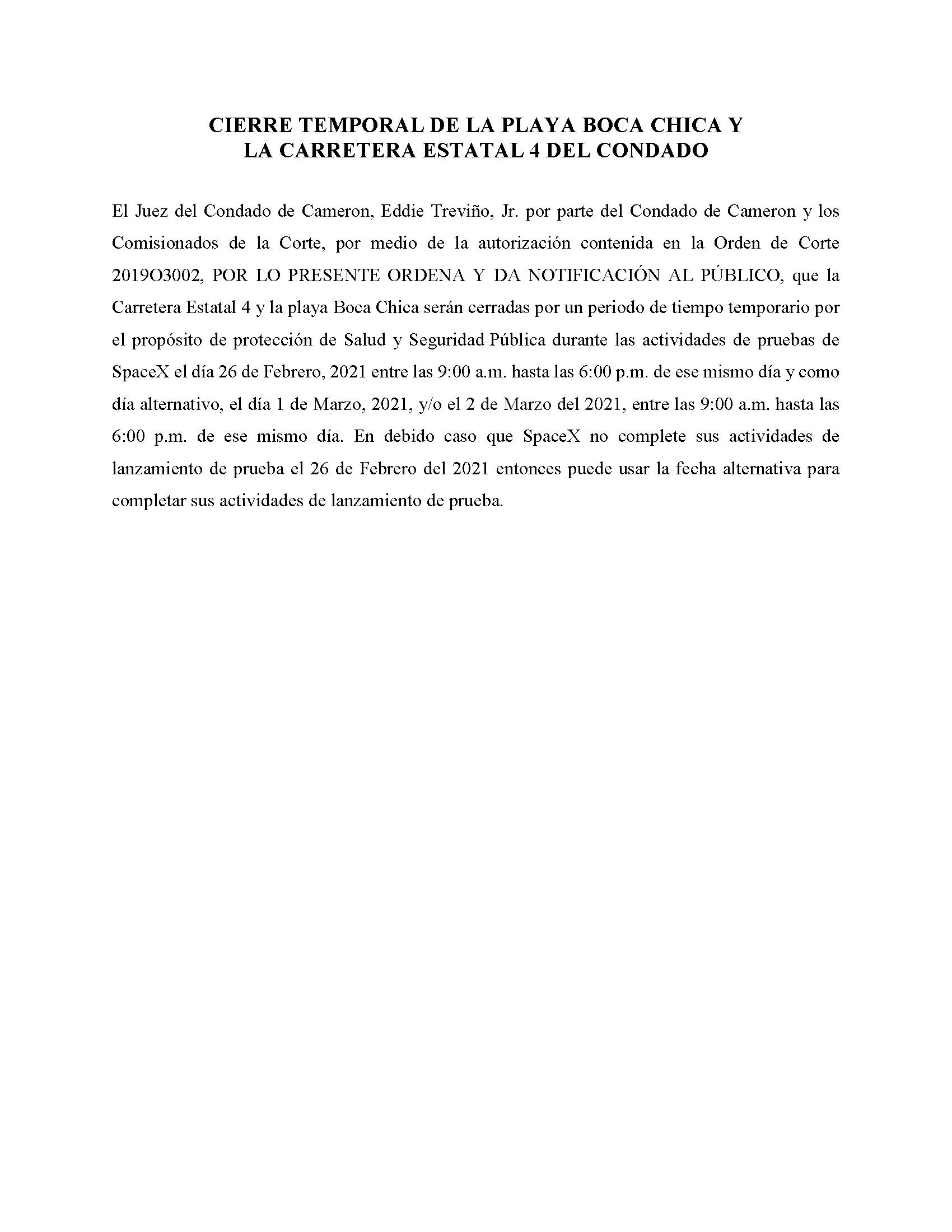 ORDER.CLOSURE OF HIGHWAY 4 Y LA PLAYA BOCA CHICA.SPANISH.02.26.2021