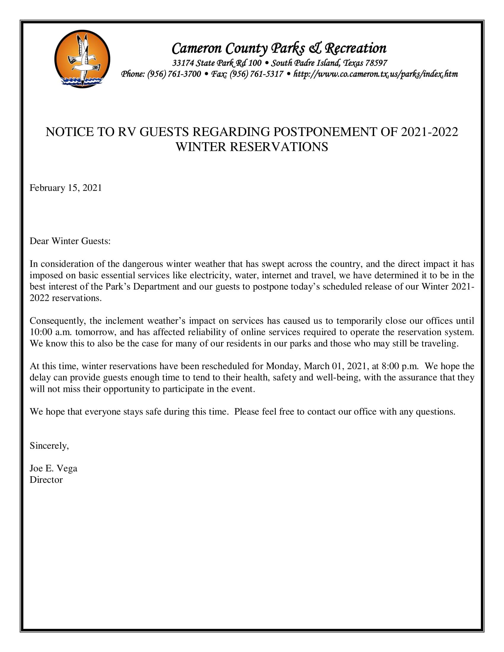 Winter Reservations Postponed