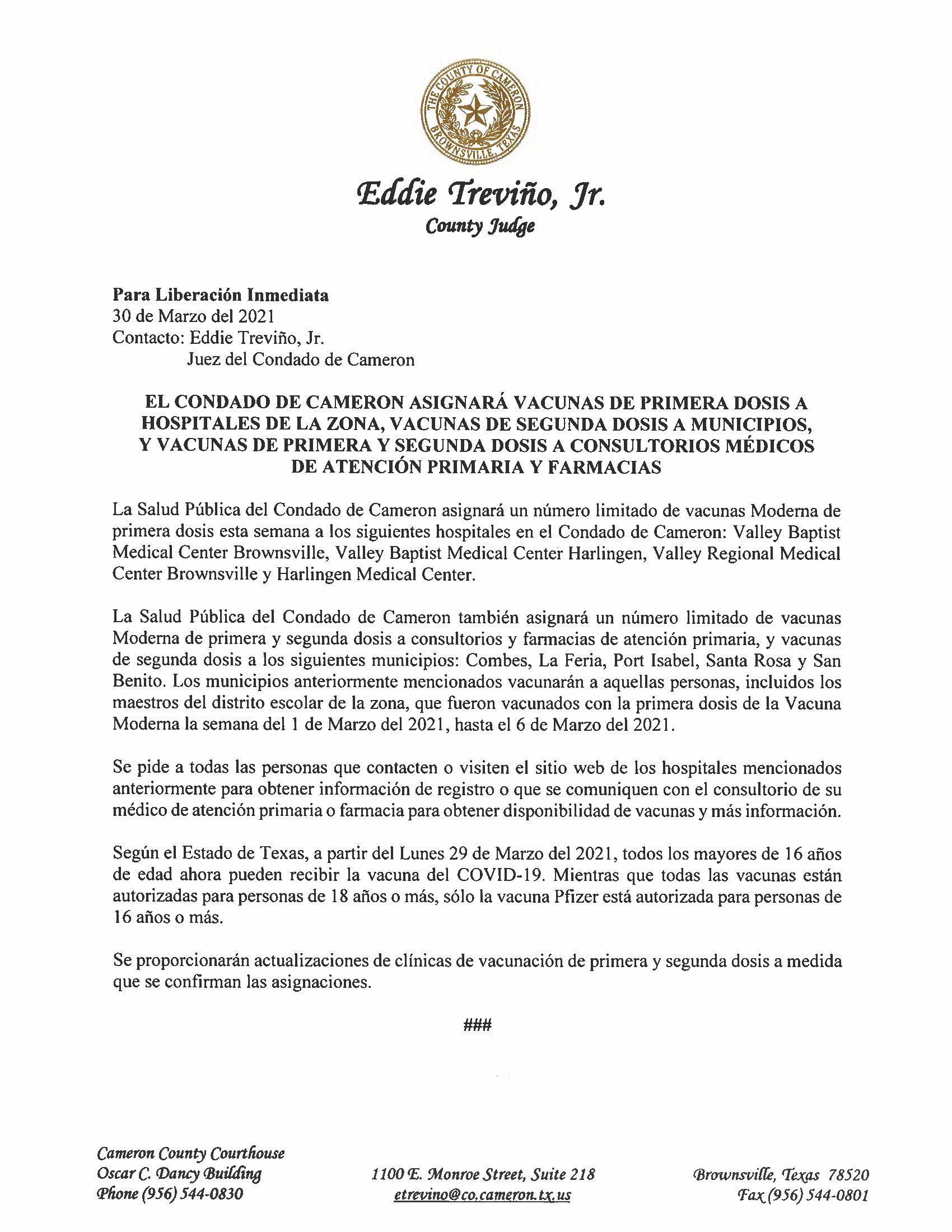 3.30.21 Condado Asignara Vacunas A Hospitales De La Zona Municipios Consultorios Medicos Y Farmacias