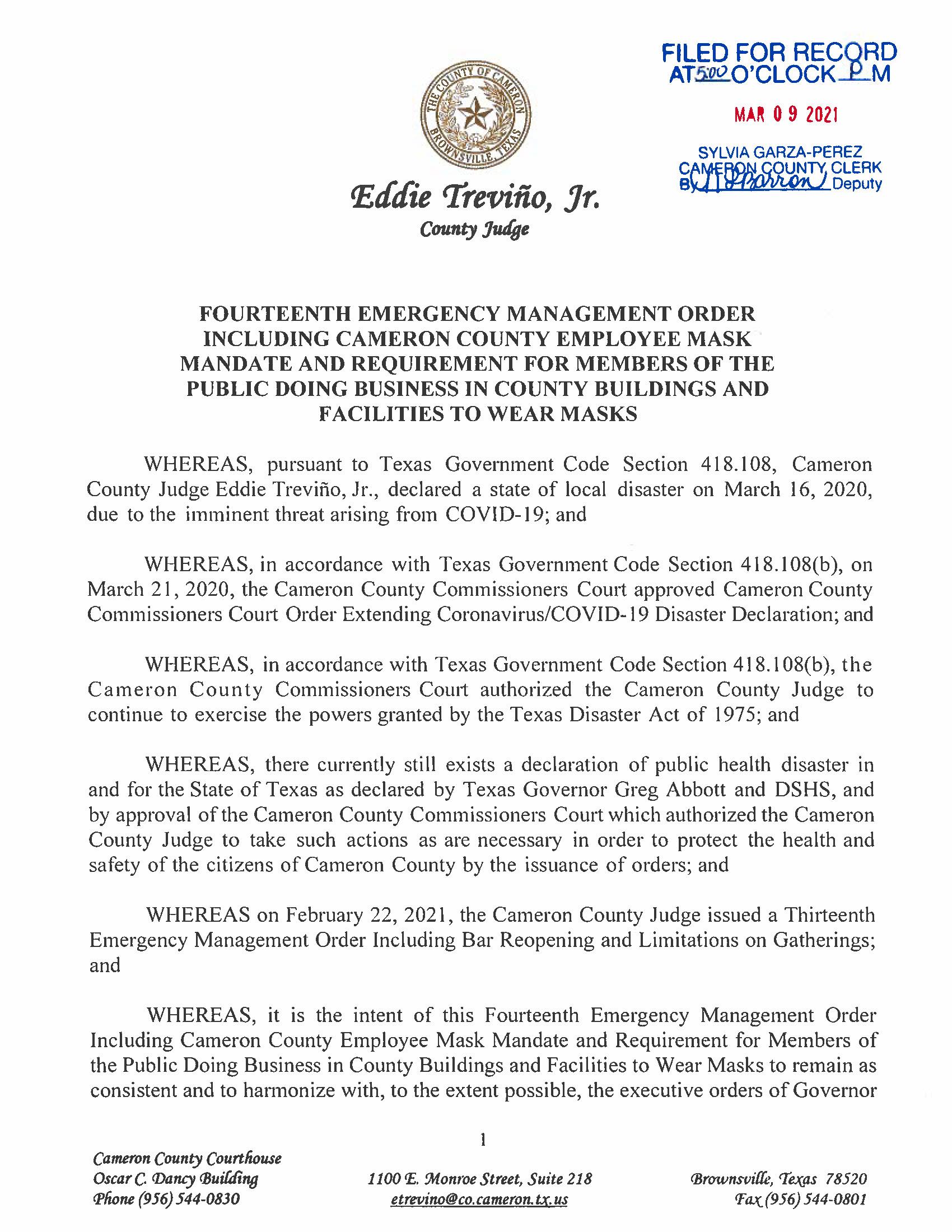 3.9.21 Fourteenth Emergency Management Order Page 1