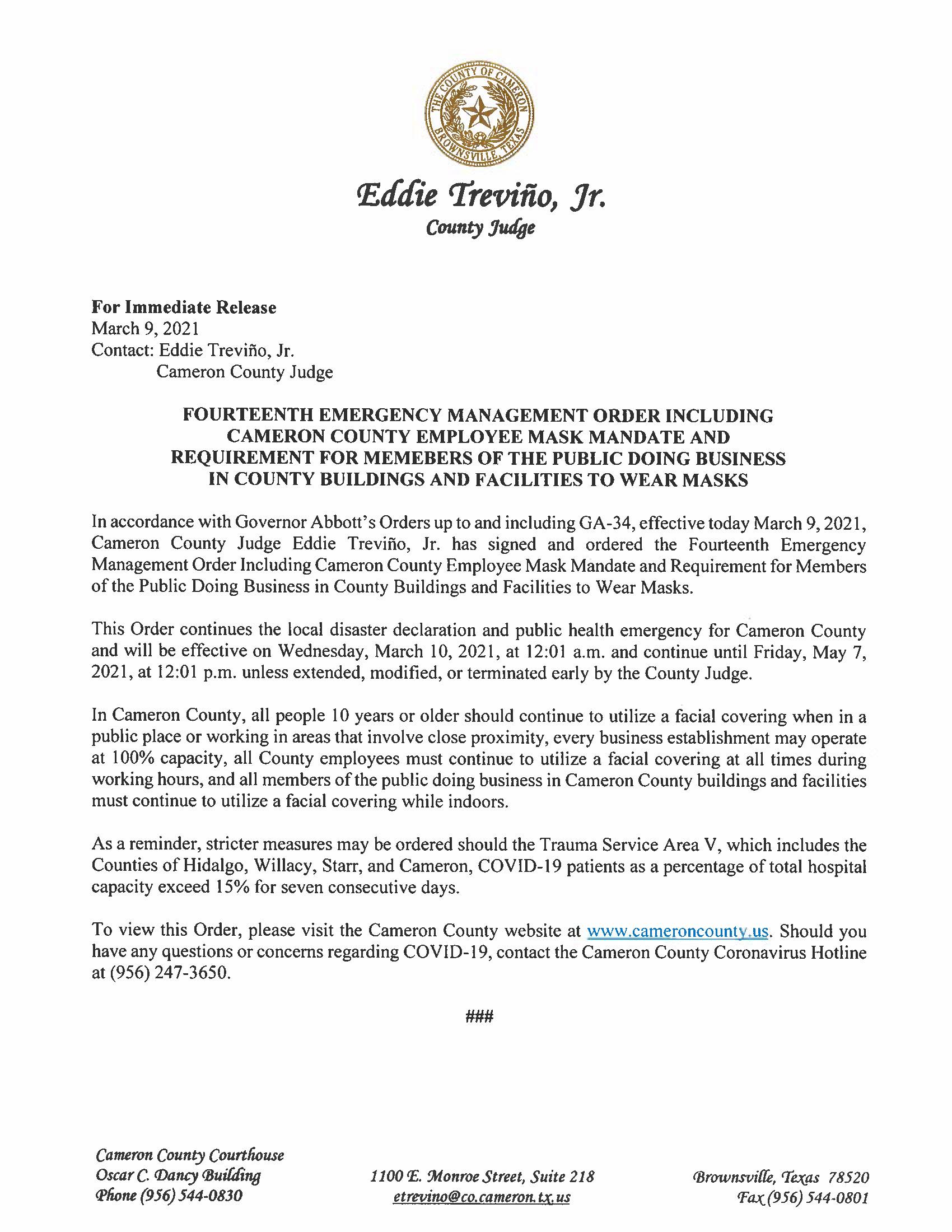 3.9.21 Press Release Fourteenth Esmergency Management Order